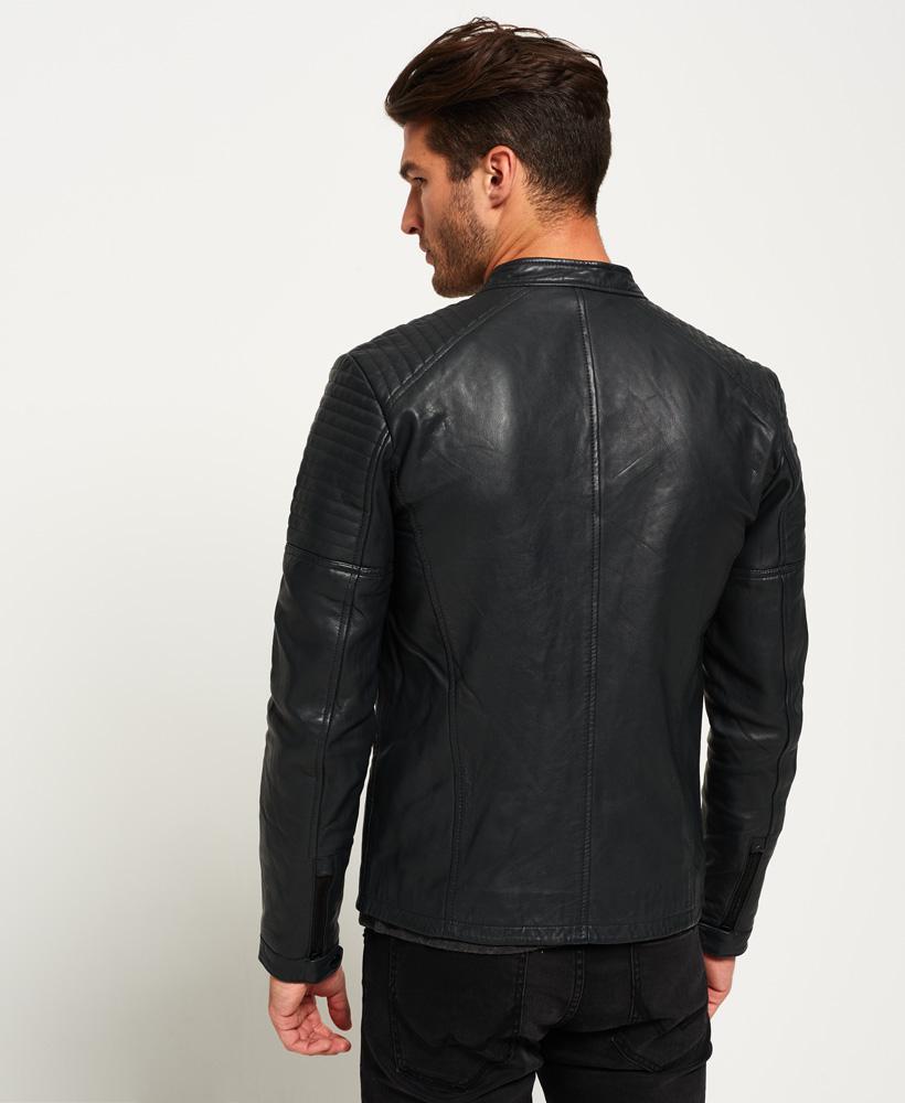 Superdry Leather Quilt Racer Jacket in Black for Men