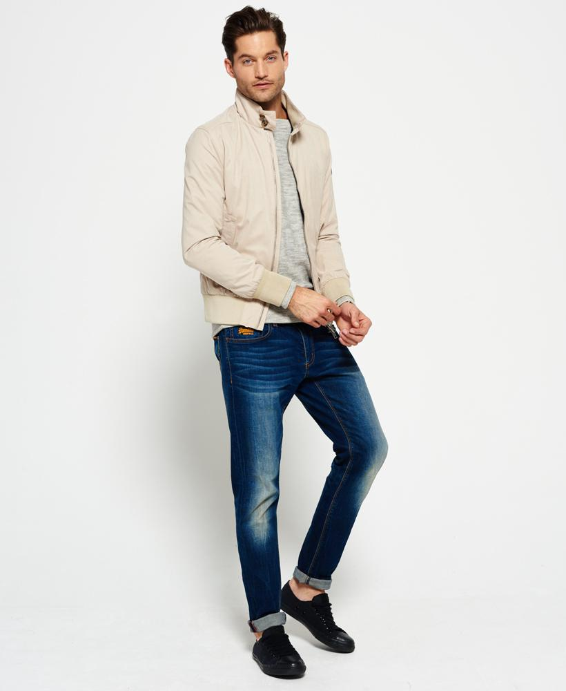 Superdry Leather Nordic Harrington Jacket Stone in Natural for Men