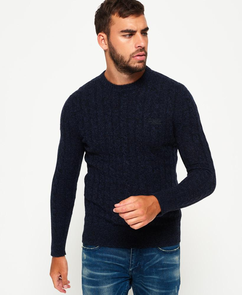 Superdry Synthetic Harlo Cable Crew Jumper in Blue for Men