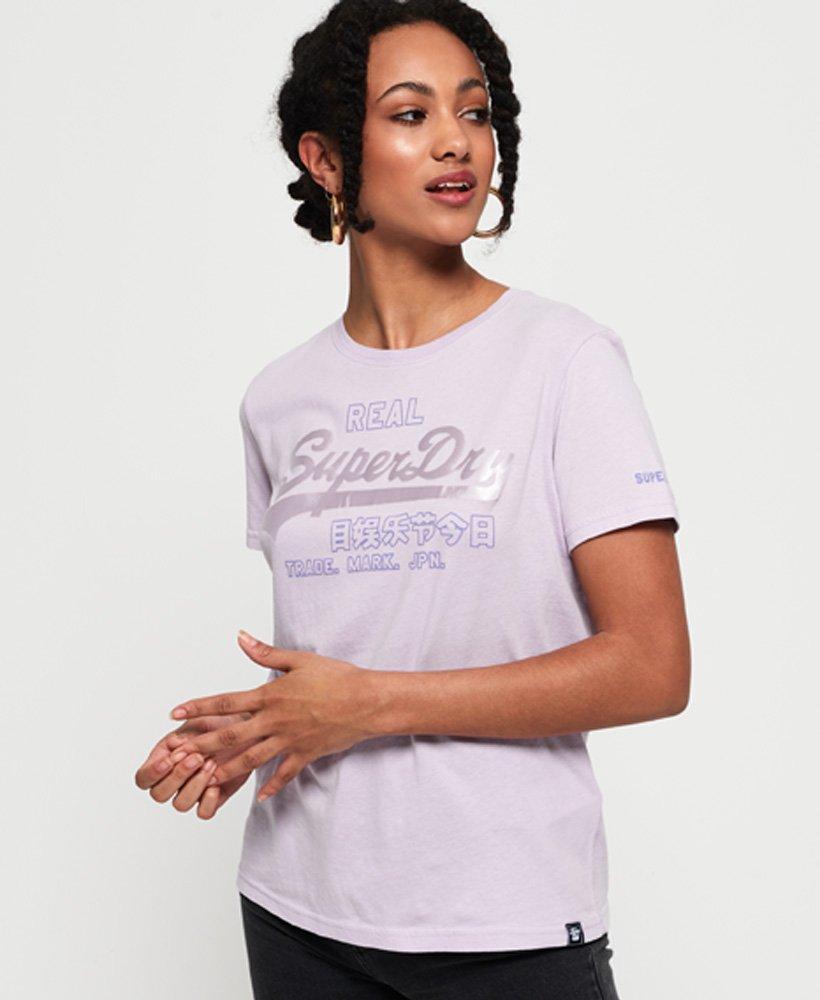 Superdry Womens Vintage Logo Code Shimmer T-Shirt
