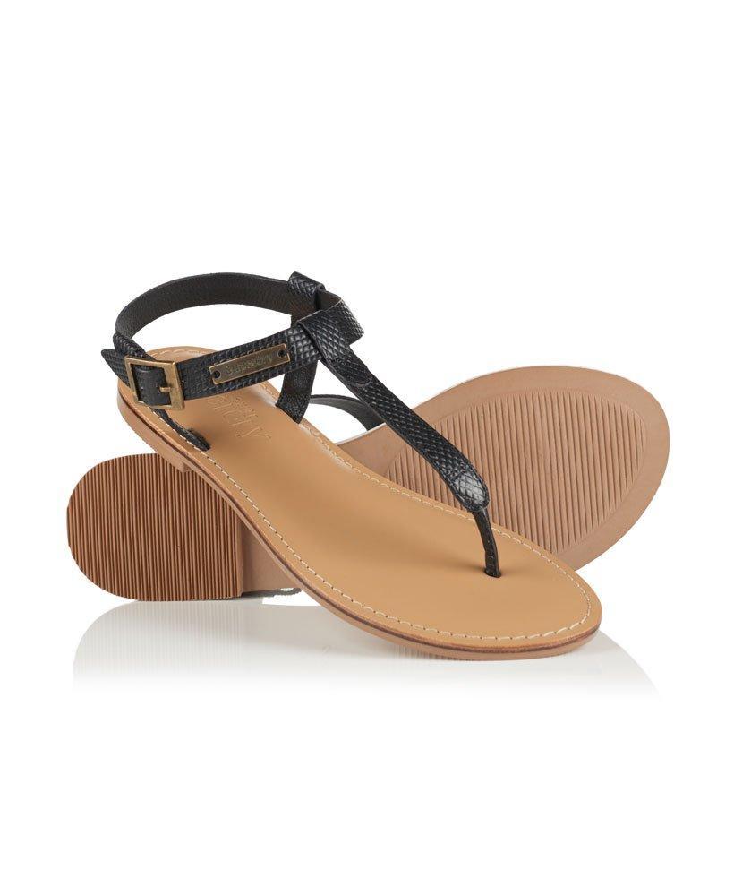 New Womens Superdry Black Metallic Bondi Thong Leather Sandals Flats Buckle