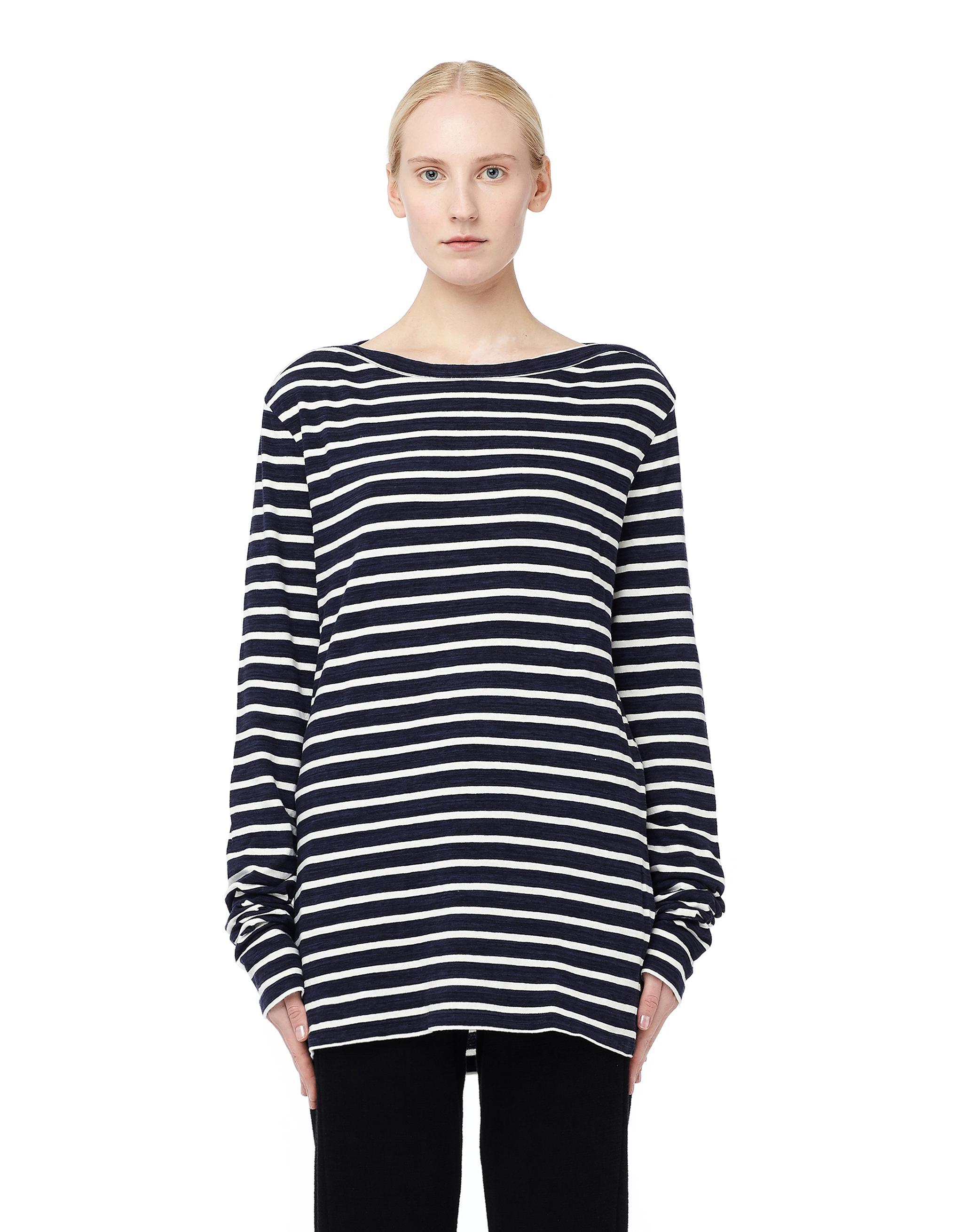 Lyst faith connexion striped long sleeve t shirt in blue for Navy blue striped long sleeve shirt