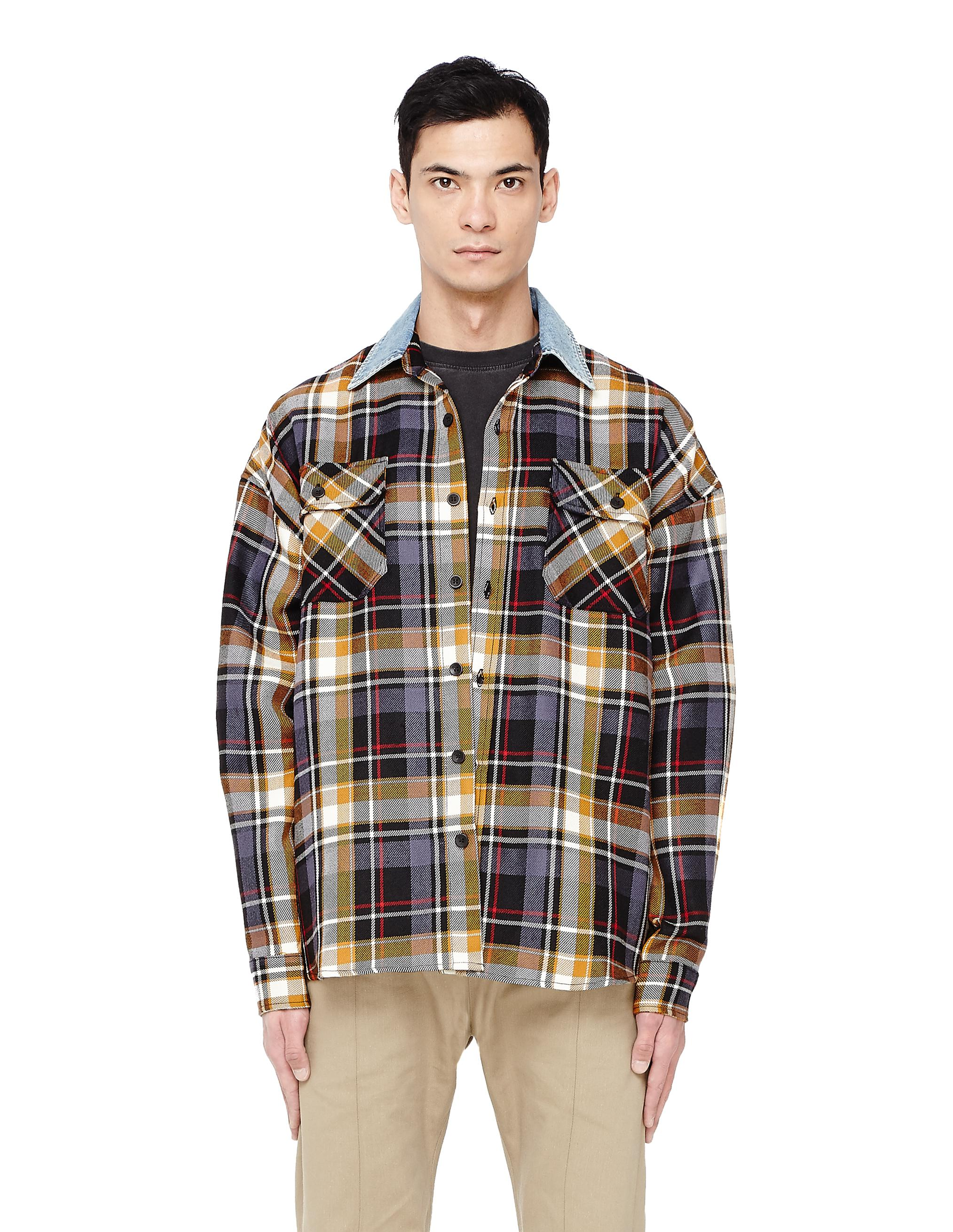 d1be799a90 Fear Of God Denim Collar Plaid Shirt in Brown for Men - Lyst