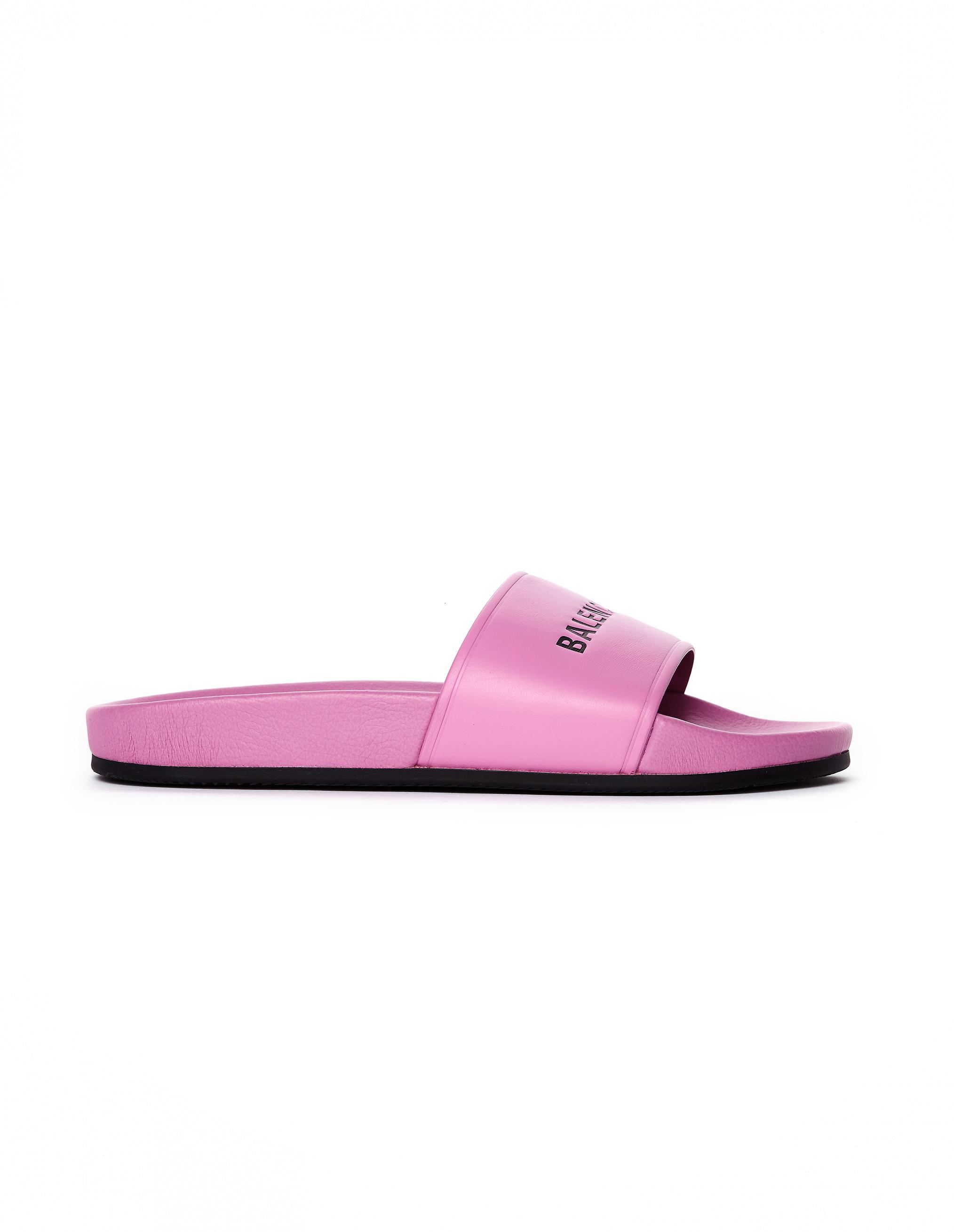 50f89f9e294 Balenciaga Pink Logo Slides in Pink - Lyst