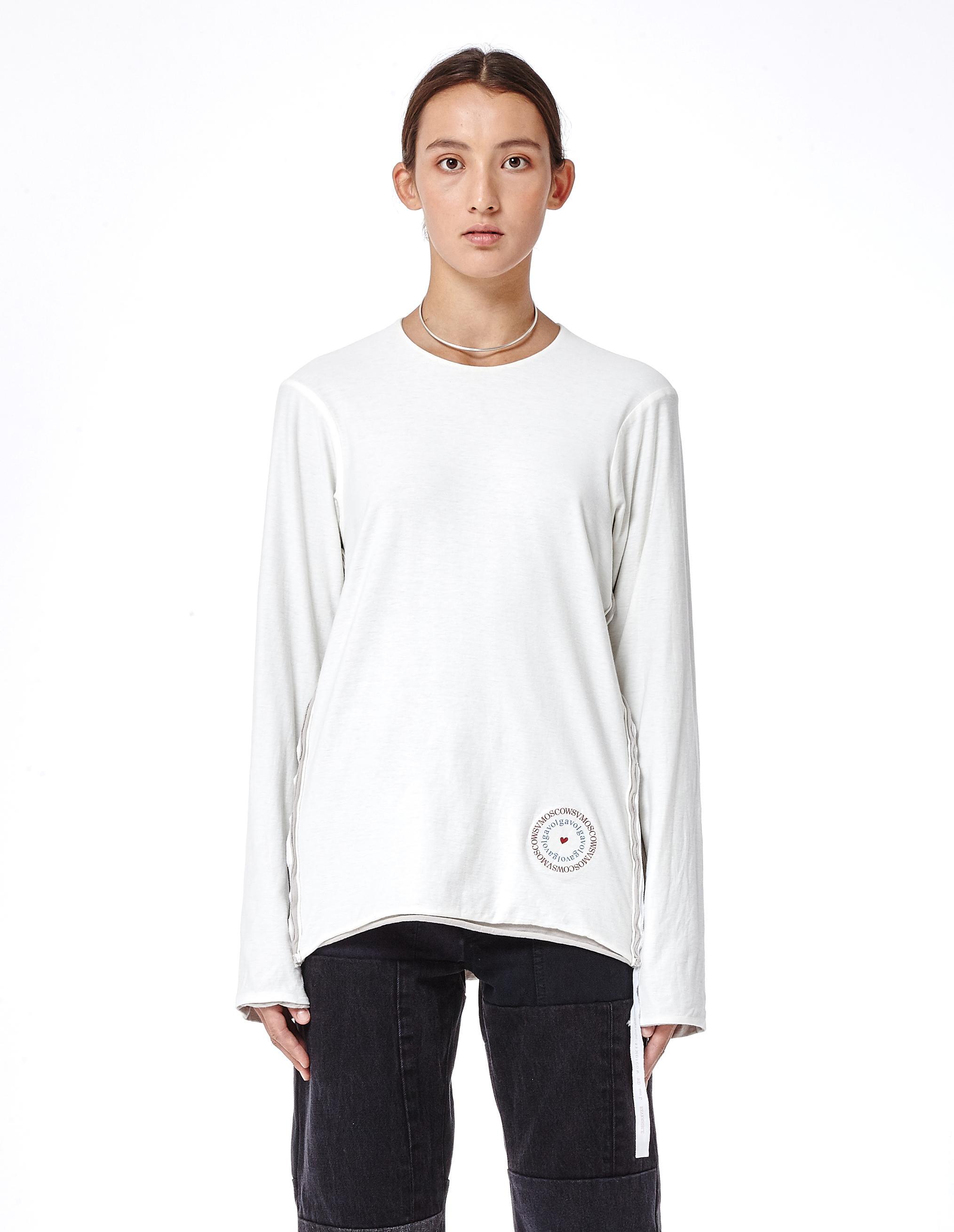 Volga volga double faced cotton long sleeve t shirt in for White cotton long sleeve t shirt