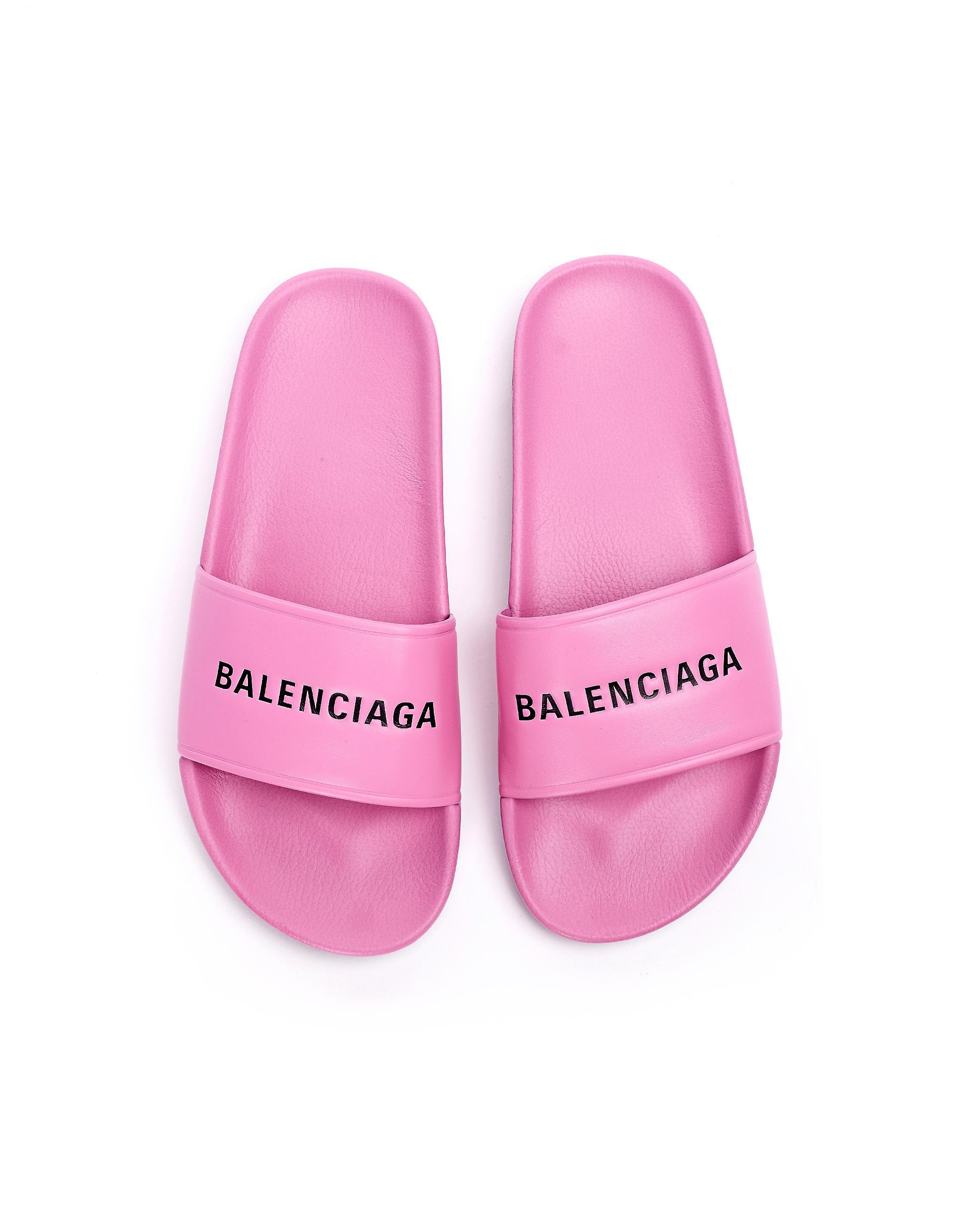 Balenciaga Leather Logo Slides in Pink