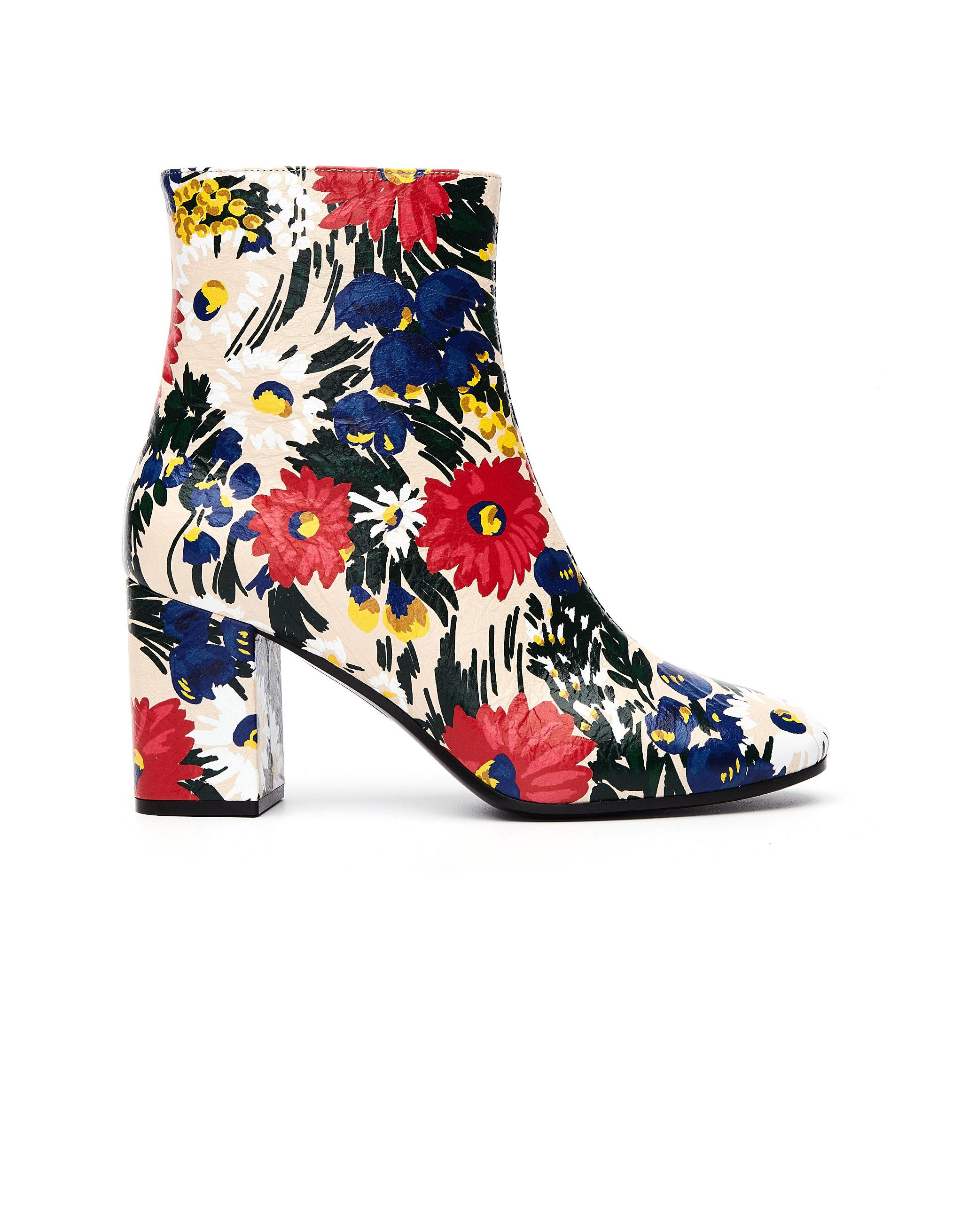 2ac125bc2567 Balenciaga Flower Printed Leather Ville Boots in Blue - Save ...