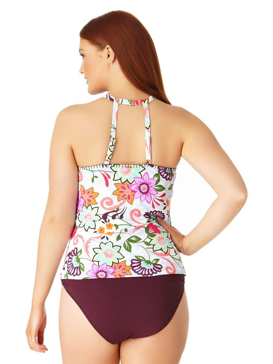 d2346d0fbe3 Lyst - Anne Cole Plus Size Fleetwood Floral High Neck Tankini Swim Top