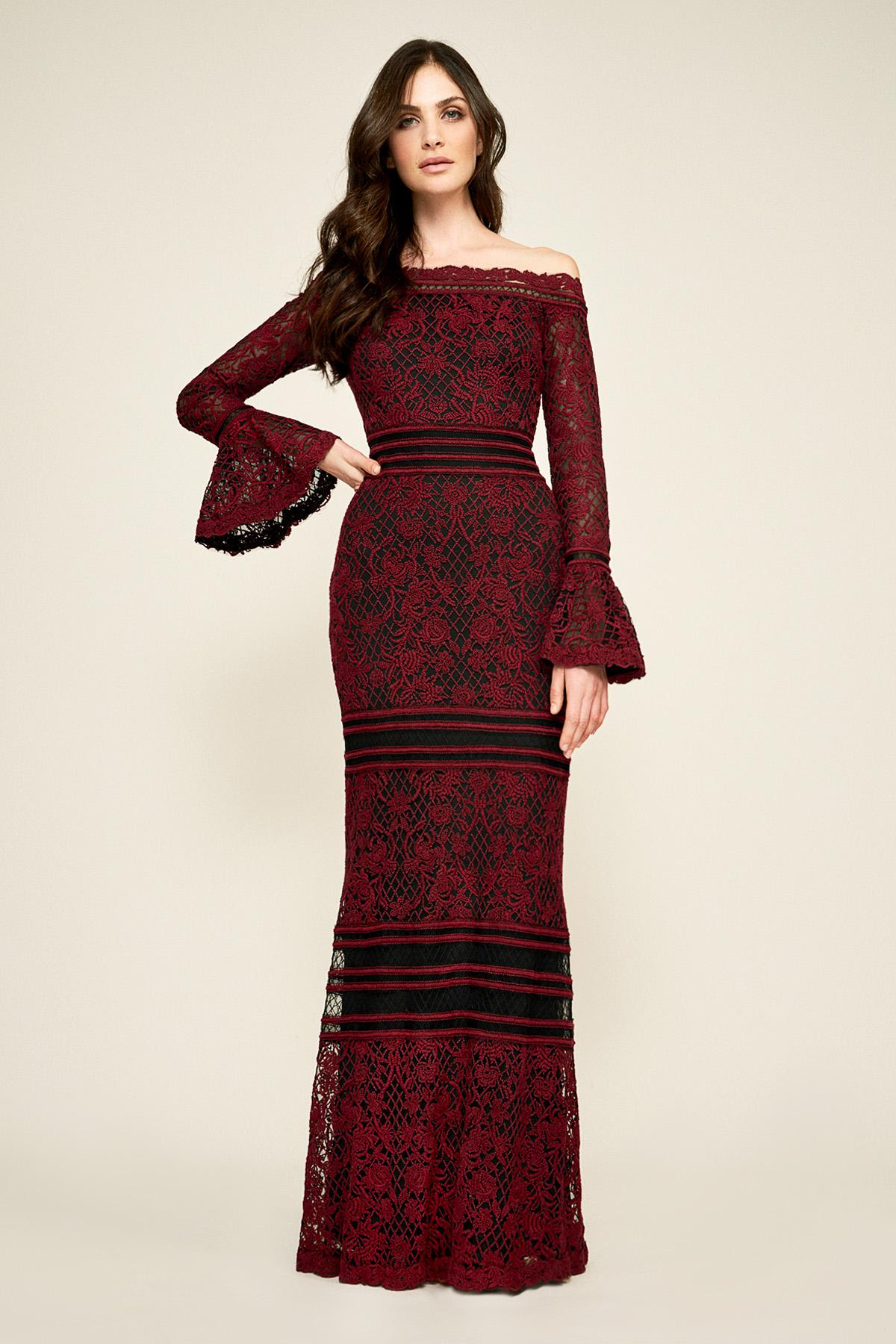Lyst - Tadashi Shoji Bell Sleeve Embroidered Lace Gown in Red 3569af6af