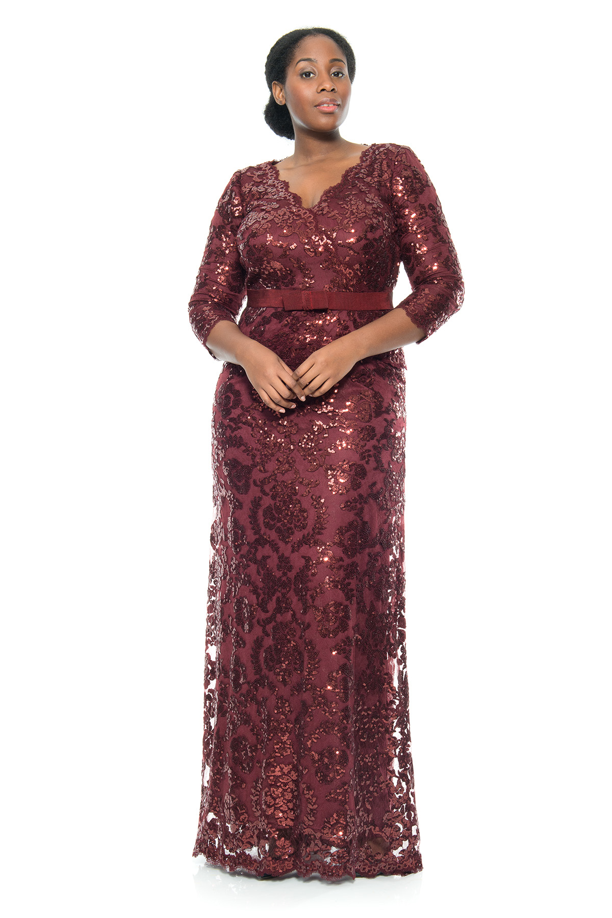 Tadashi shoji paillette embroidered 3 4 sleeve v neck gown Plus size designer clothes uk