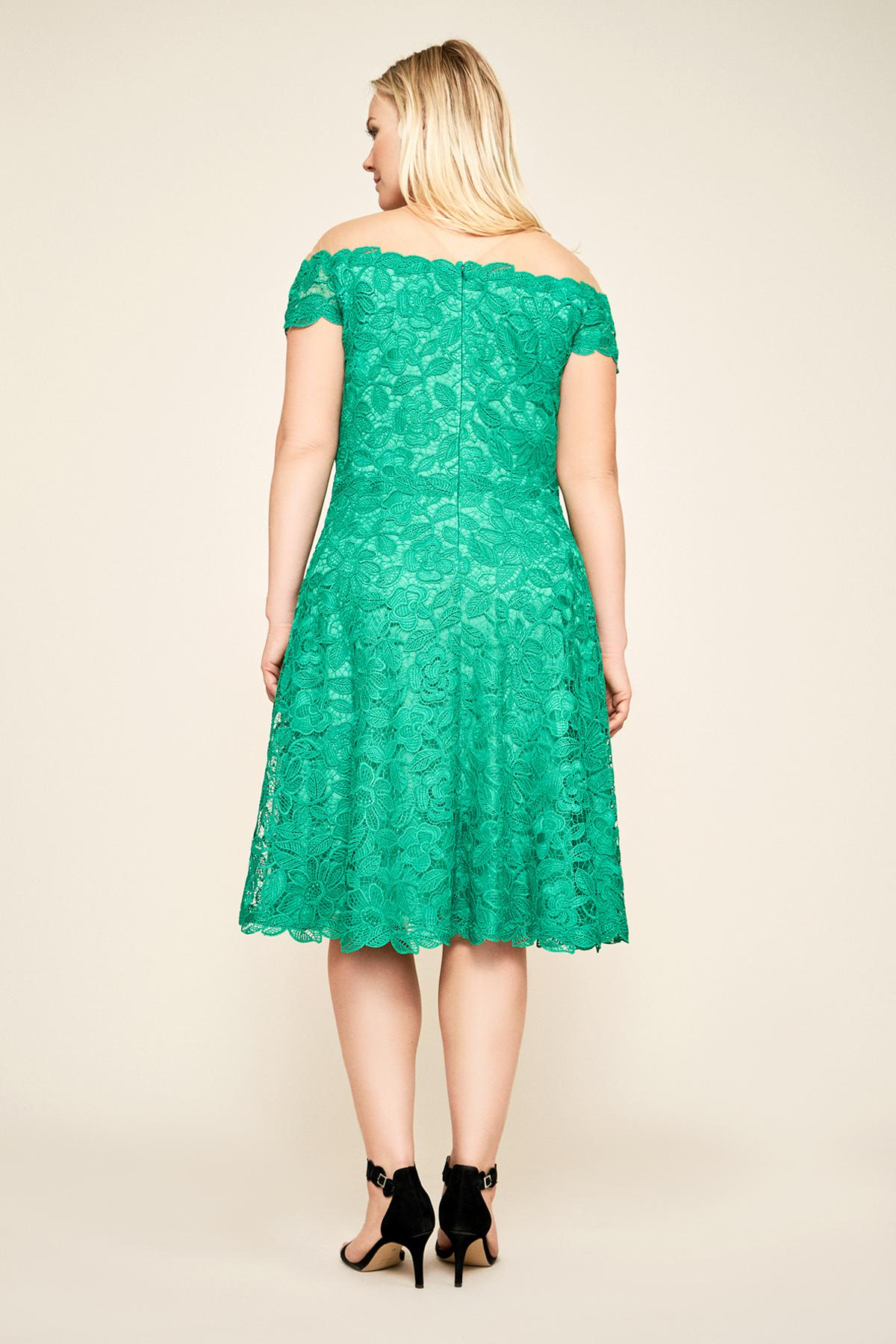 9f9880d557a56 Tadashi Shoji - Green Elidi Off-the-shoulder Lace Dress - Plus Size -. View  fullscreen
