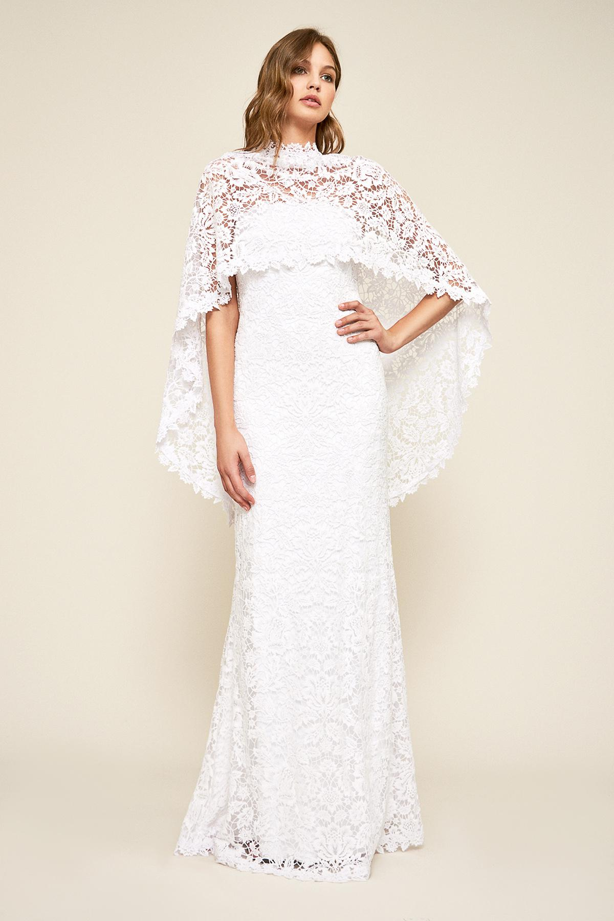f6c7bcd4f624 Tadashi Shoji Raleigh Strapless Capelet Gown in White - Lyst
