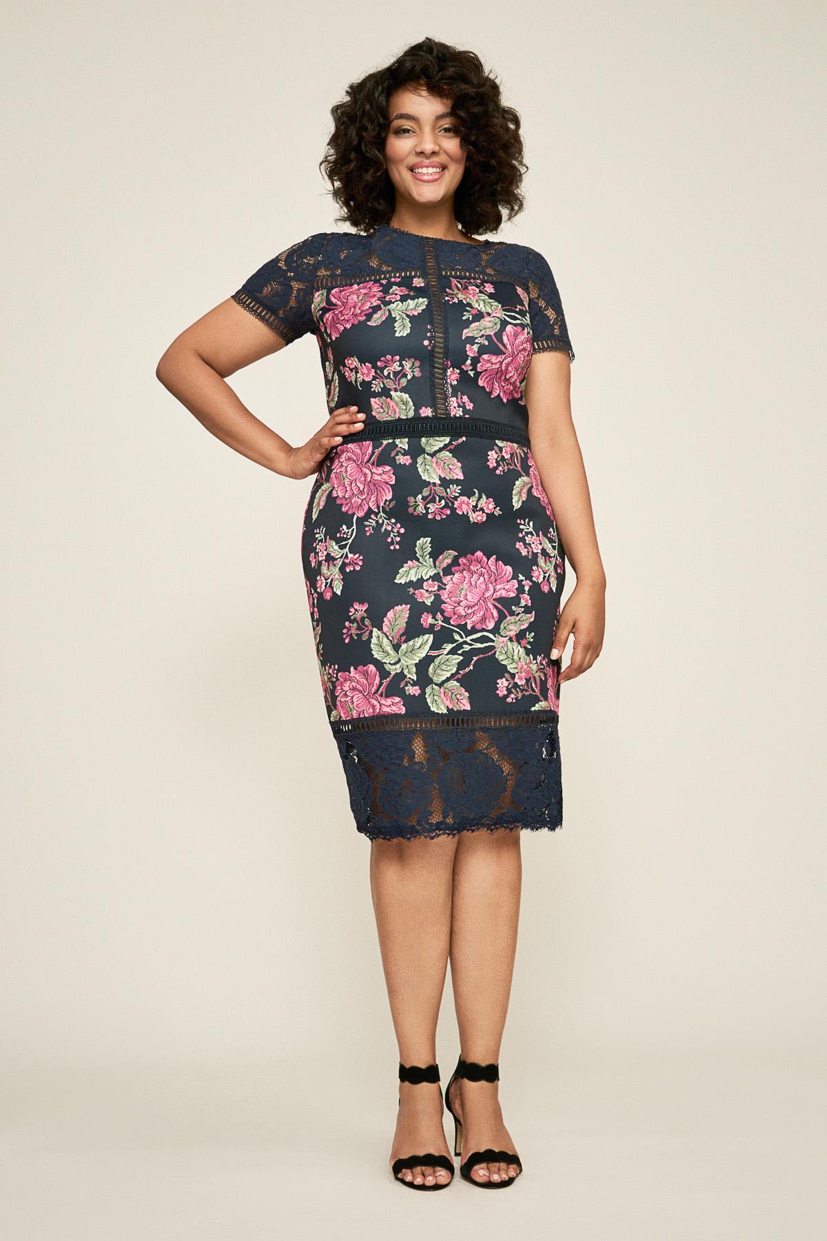 f5d27ba87980d Tadashi Shoji Helena Floral Neoprene Dress - Plus Size - Lyst