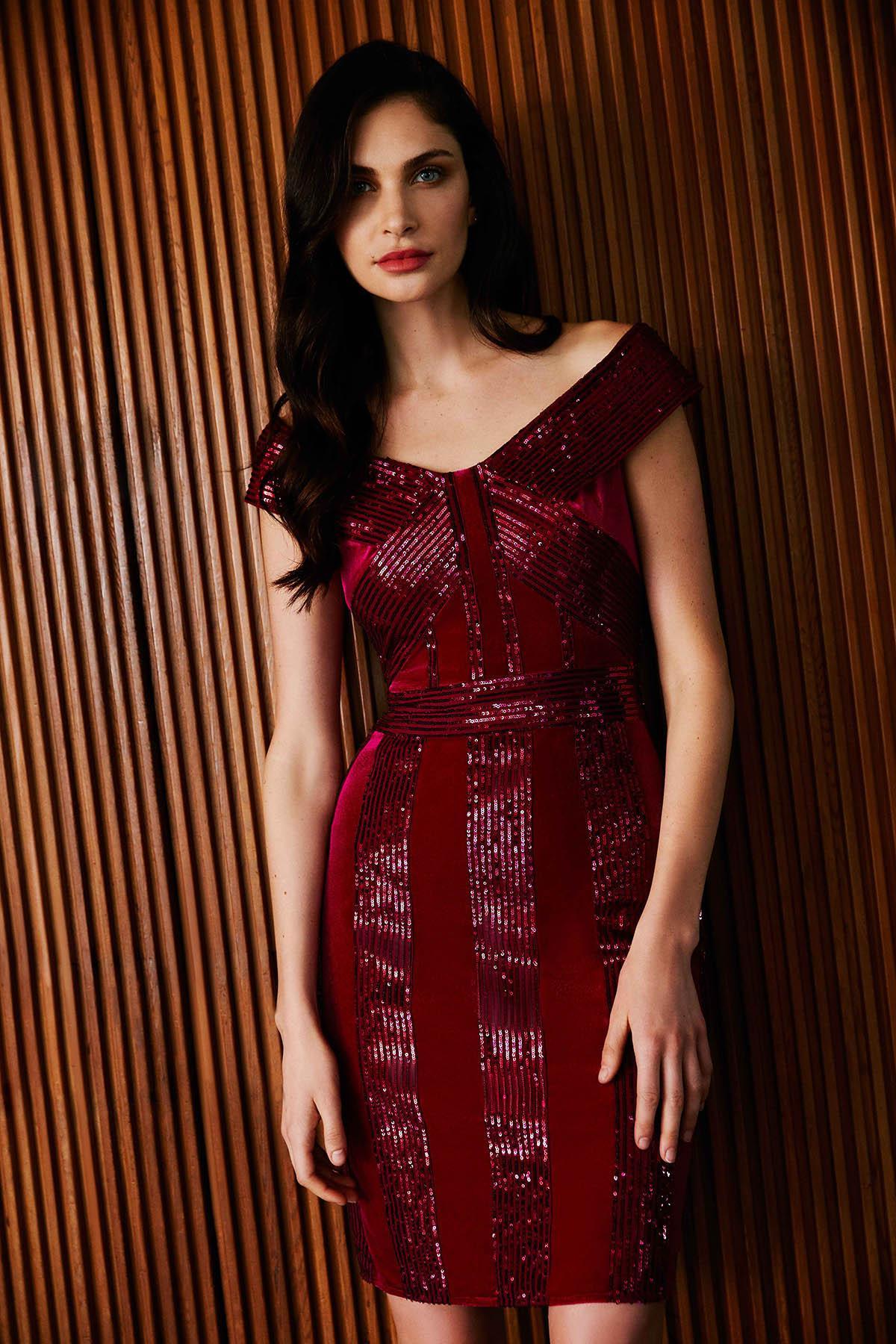 64ba7e1eac76a Tadashi Shoji - Red Rhea Velvet   Sequin Stripe Dress - Petite - Lyst. View  fullscreen