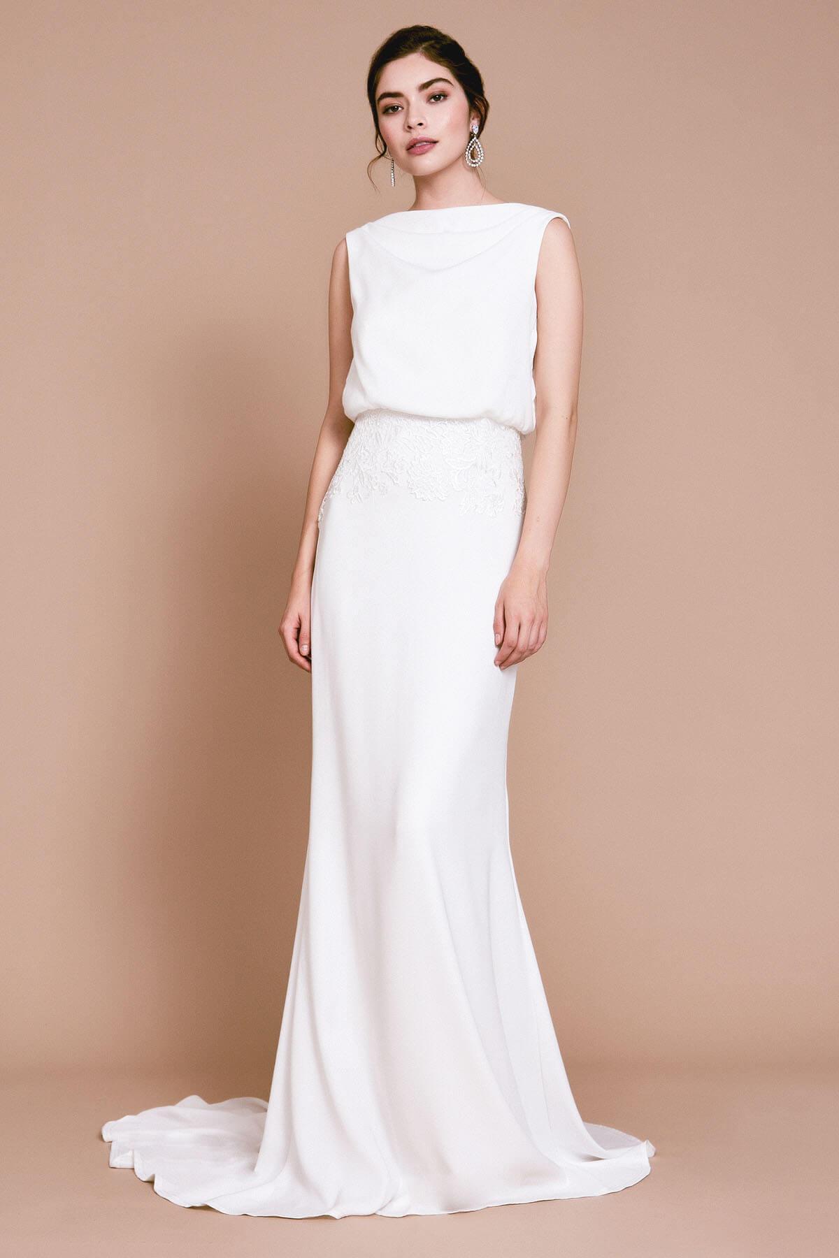 Tadashi Shoji Tulle Lilo Back Drape Gown In Ivory White Lyst