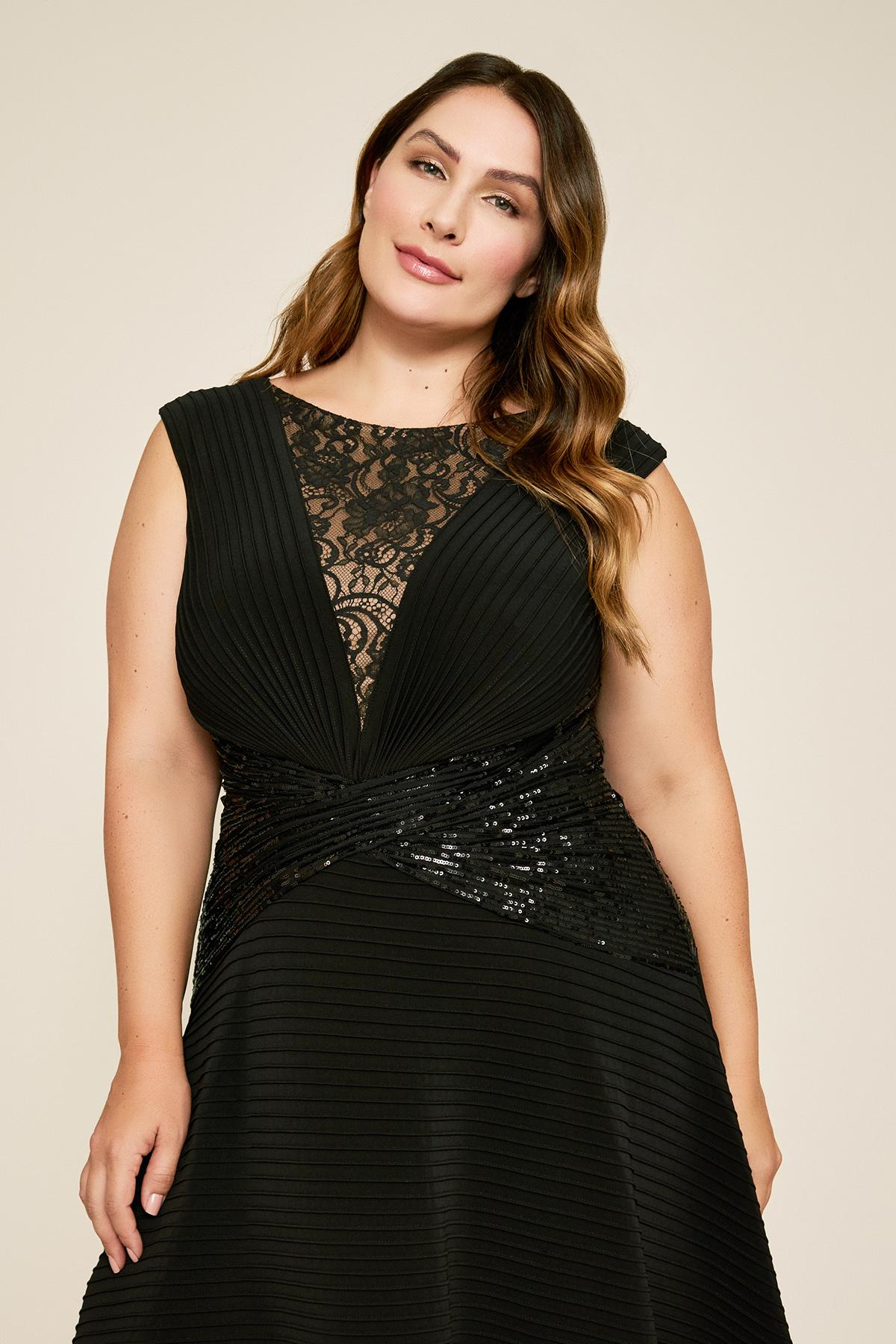 Celsi Sleeveless Pintuck Sequin Dress - Plus Size