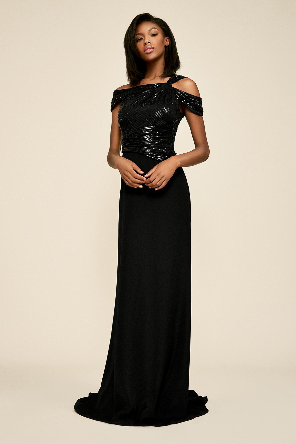 1cf065f438 Lyst - Tadashi Shoji Vesta Sequin Crepe Gown in Black