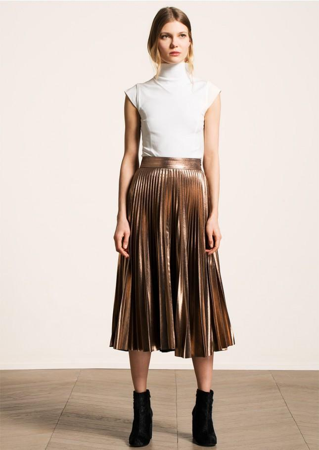 5619f4440 Tara Jarmon Metallic Copper Pleated Midi Skirt in Metallic - Lyst