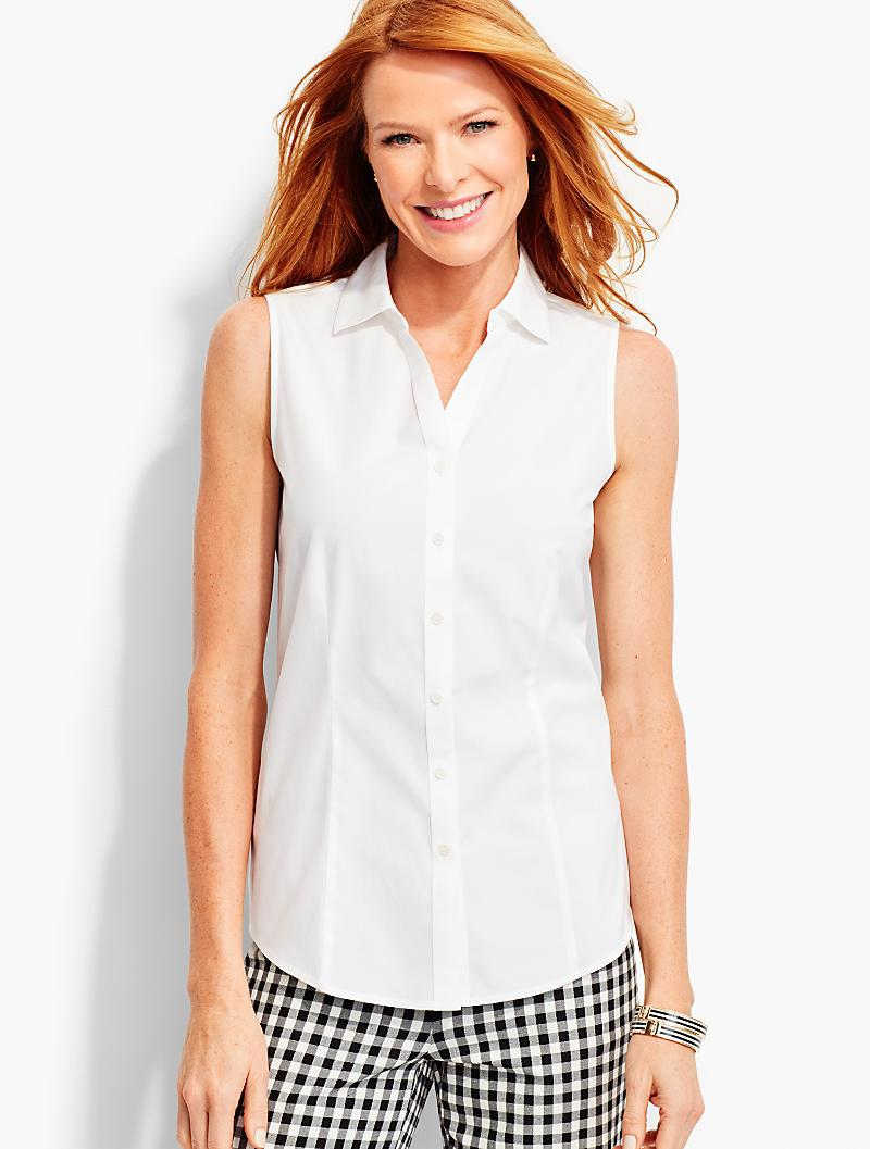 f0667493796a Lyst - Talbots Sleeveless Wrinkle-resistant Shirt in White
