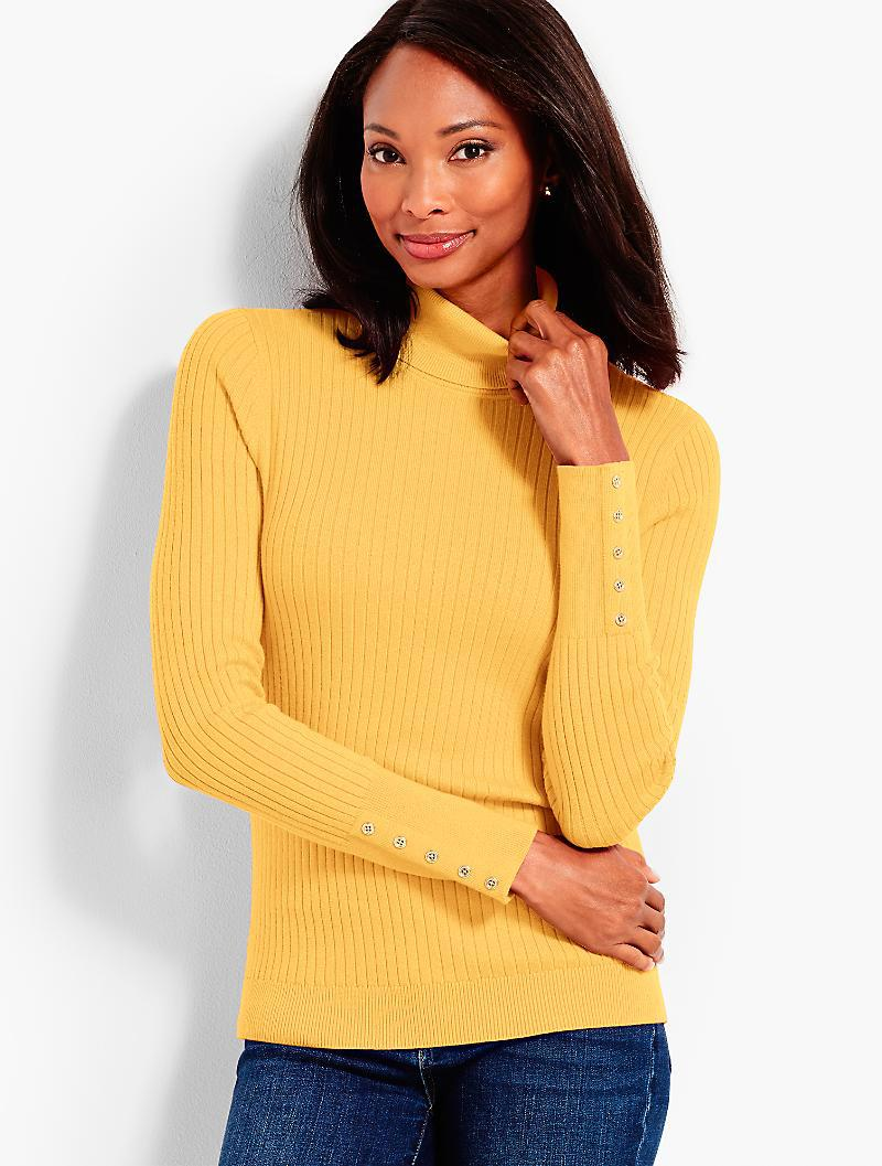 0390bae4a9ee8 Lyst - Talbots Button-cuff Cotton Turtleneck in Yellow