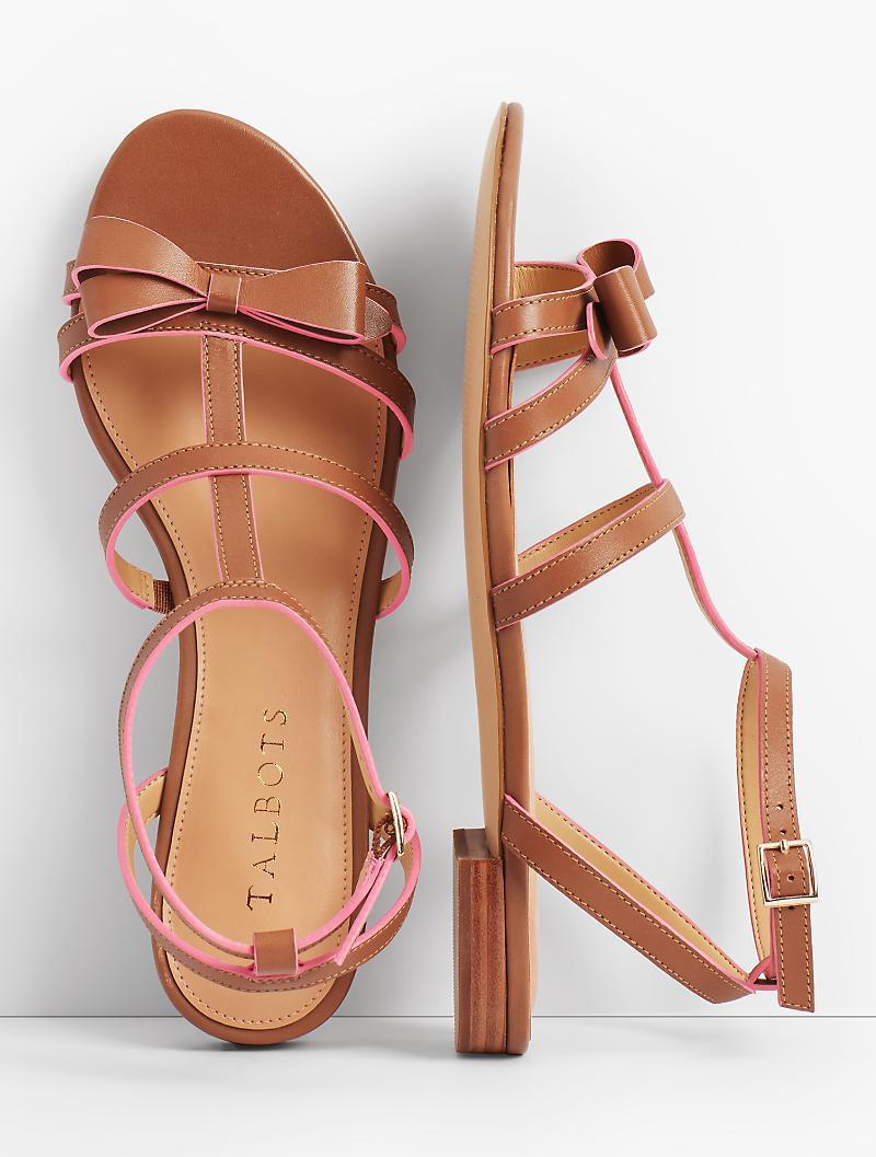 61298d96bd4f Lyst - Talbots Keri Bow Vachetta Leather Sandals