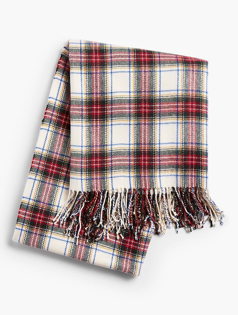 4097109ecd6ca Talbots Tartan Plaid Fringe Blanket in Red - Lyst