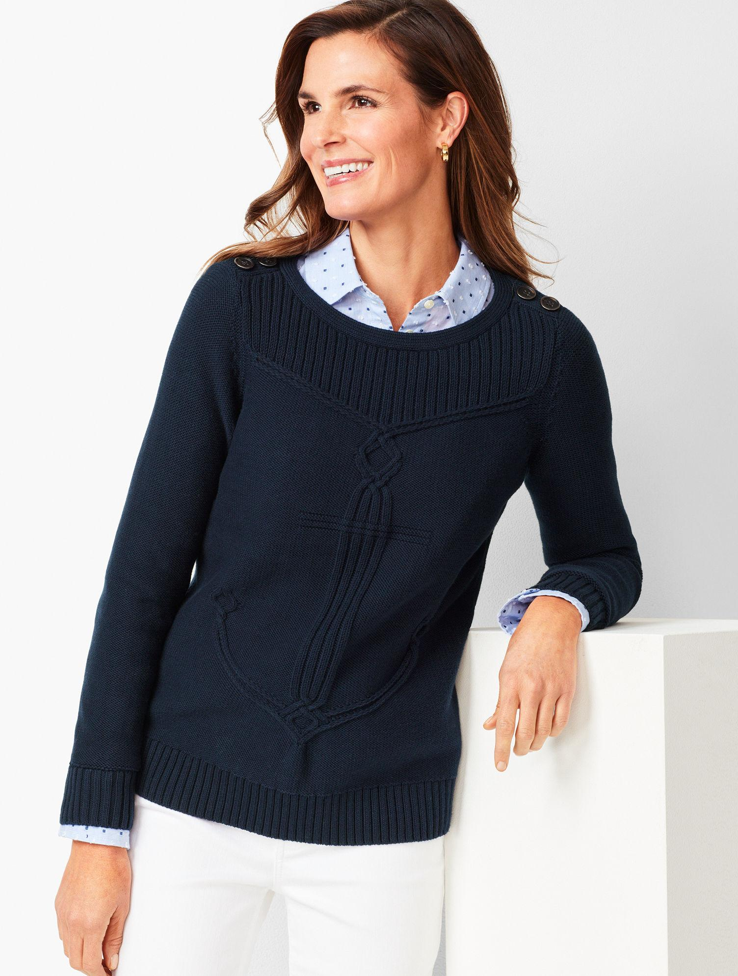 50d3c6ca0 Lyst - Talbots Cable Ribbed-yoke Sweater in Blue