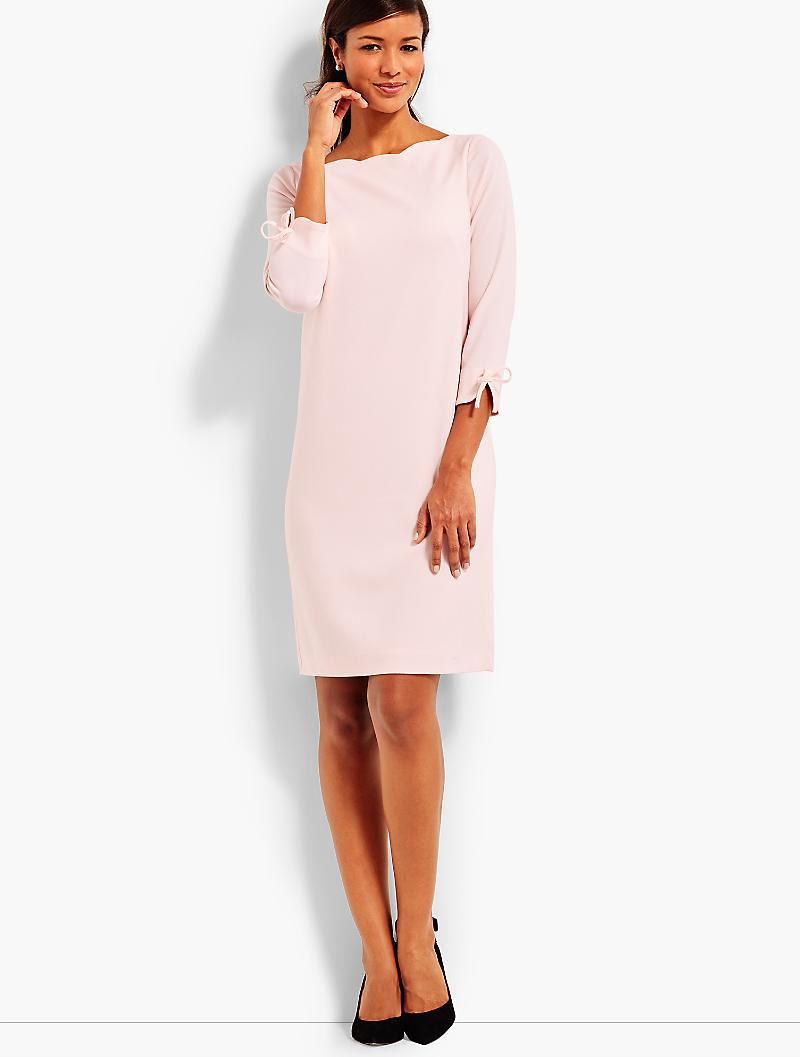 882afe3226cd Talbots Moss Crepe Shift With Scalloped Neck in Pink - Lyst