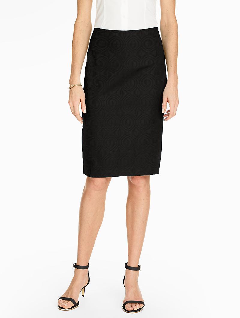 talbots cotton pencil skirt oval jacquard in black lyst