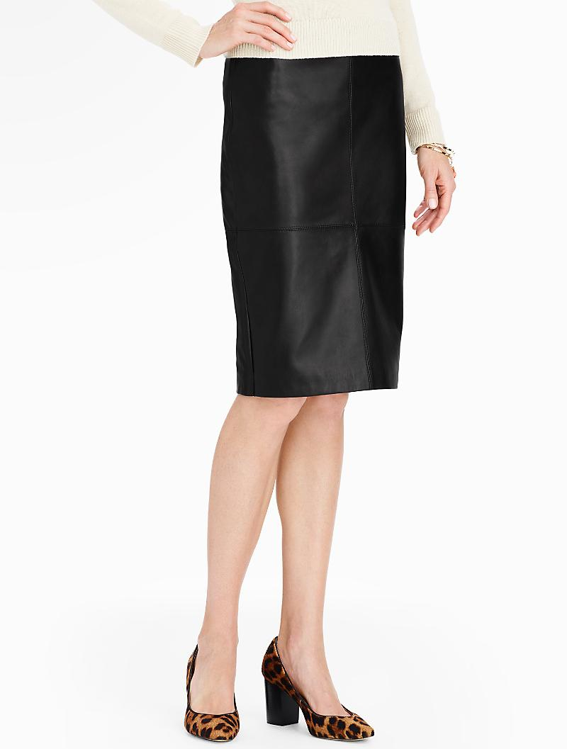 talbots leather pencil skirt in black lyst