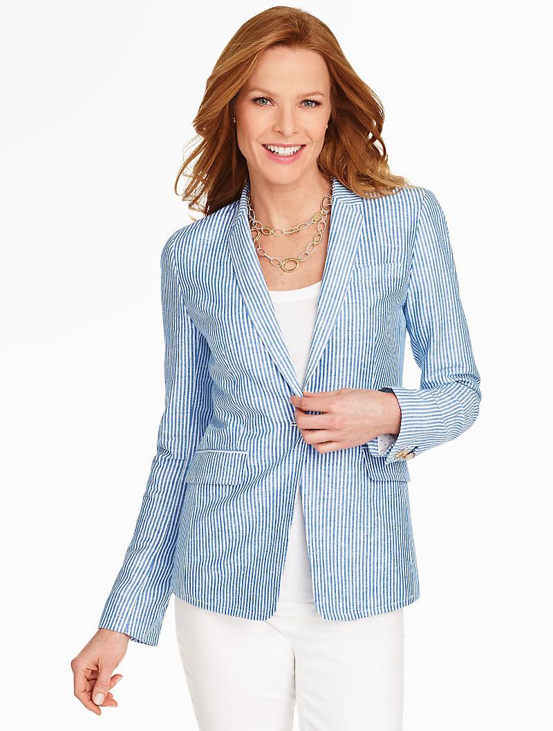Talbots Aegean Stripe Seersucker Blazer In Blue Lyst