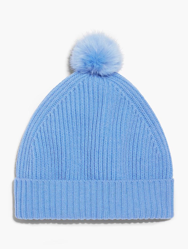 Lyst Talbots Faux Fur Pom Pom Hat In Blue For Men