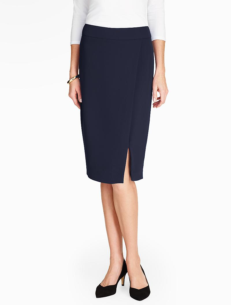 talbots crepe pencil skirt in blue lyst