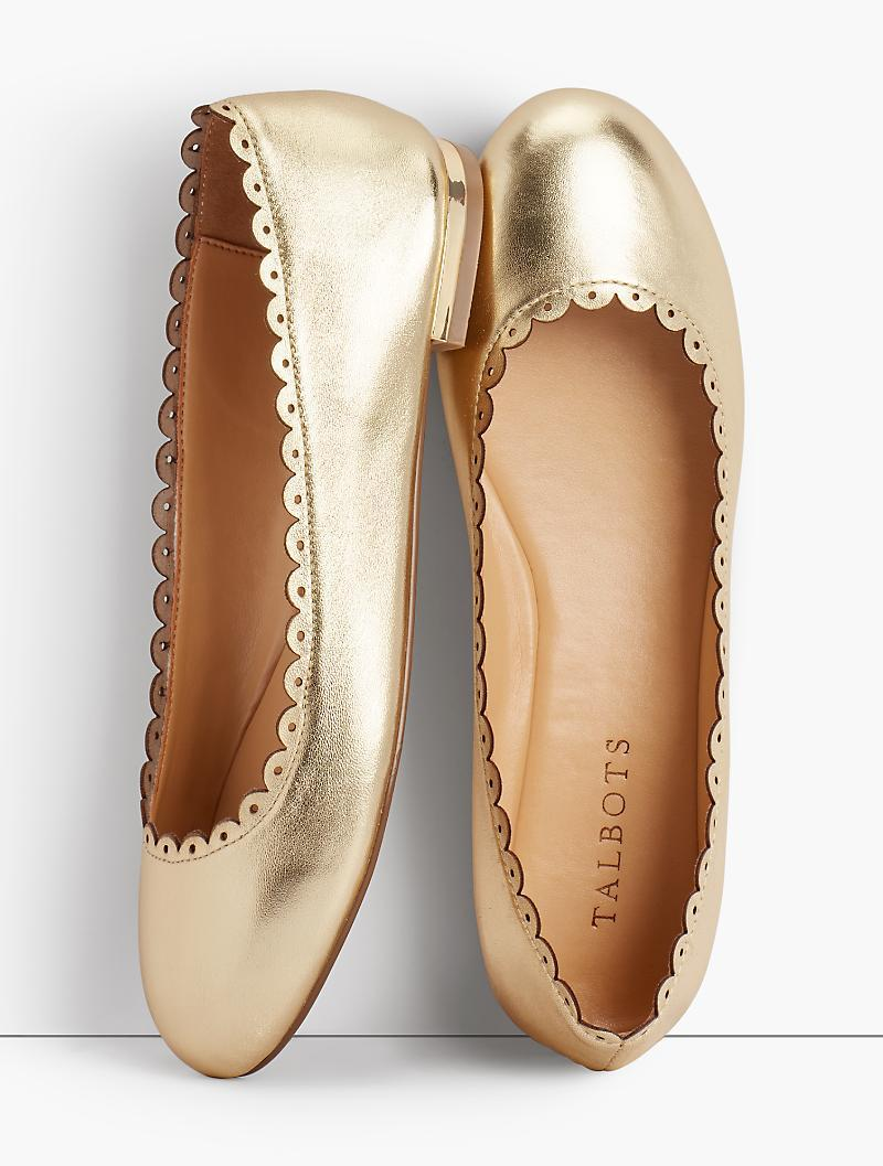 02dd212eb52 Talbots - Penelope Scalloped Ballet Flats - Metallic Napa Leather - Lyst.  View fullscreen