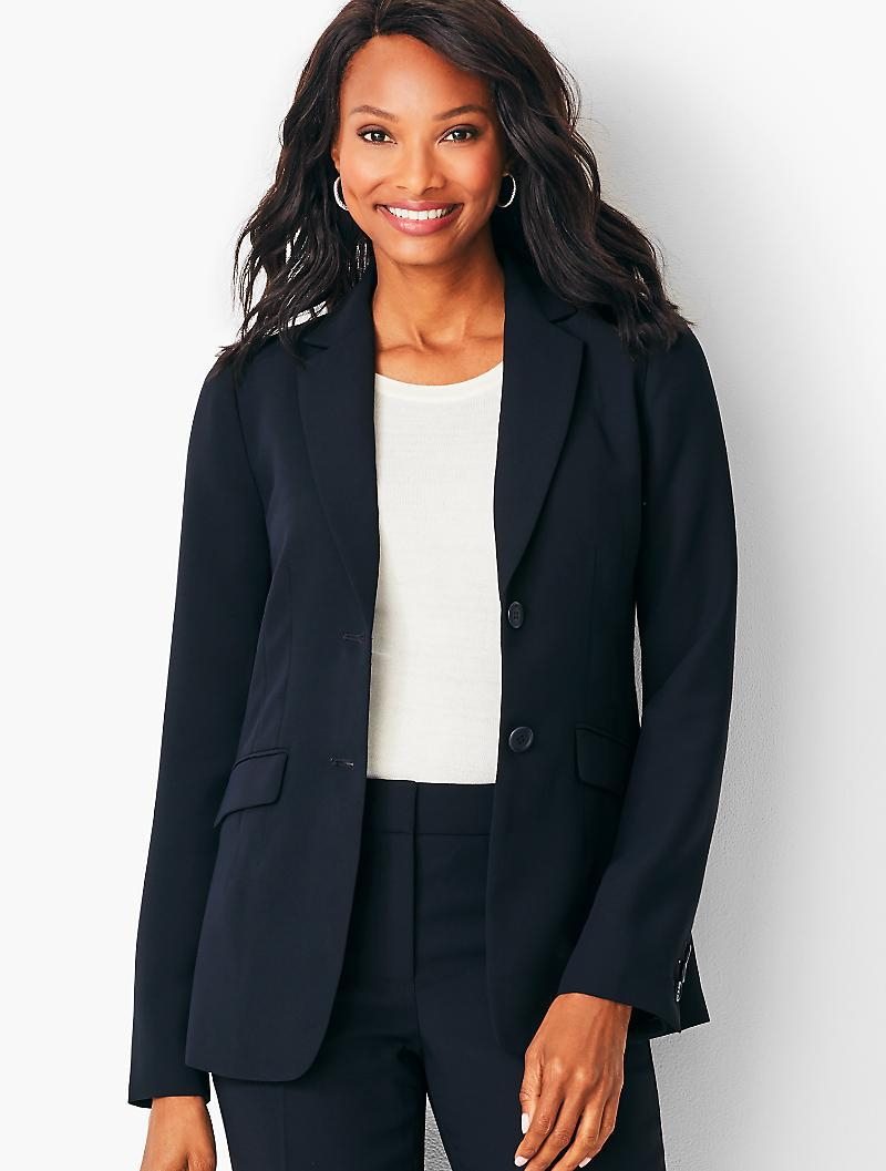 dc31dc32db3c Talbots Seasonless Crepe Two-button Jacket in Blue - Lyst