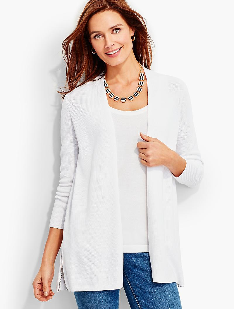 Lyst - Talbots Side-zip Flyaway Cardigan in White
