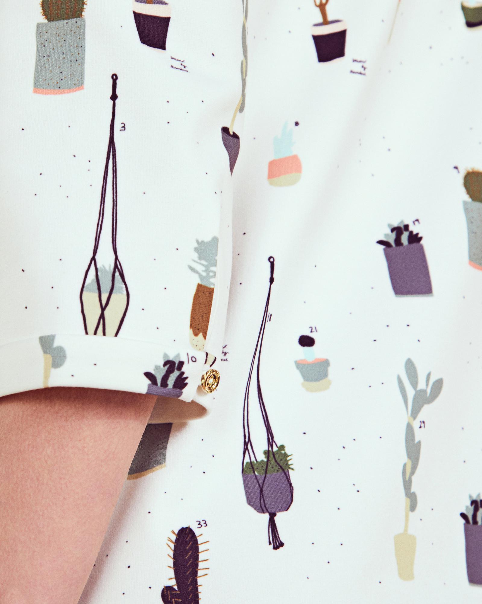 e95d1e1348b8 Ted Baker Cactus Print Shift Dress in White - Lyst