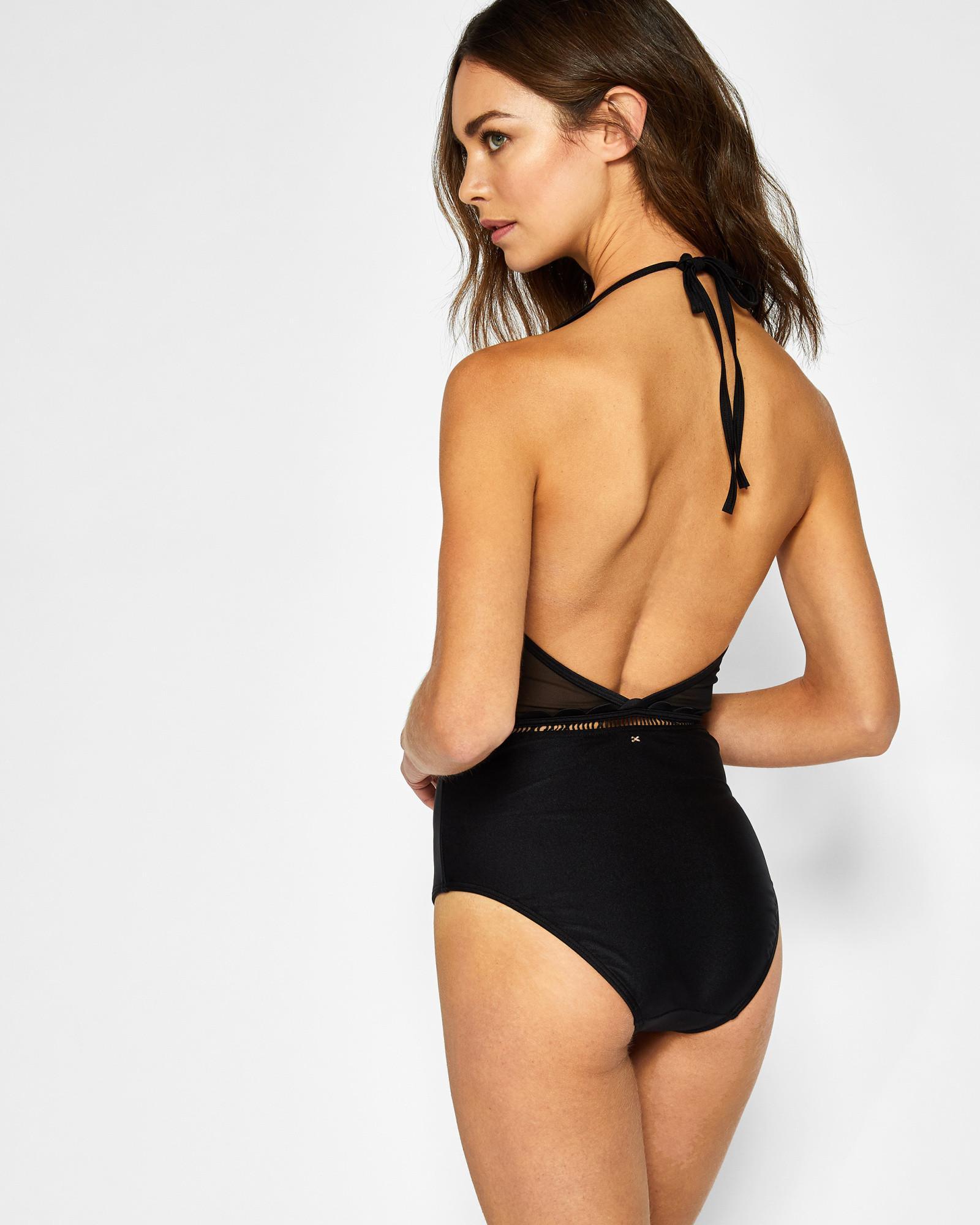 5ba4a3b07d Ted Baker - Black Scalloped Mesh Detail Swimsuit - Lyst. View fullscreen