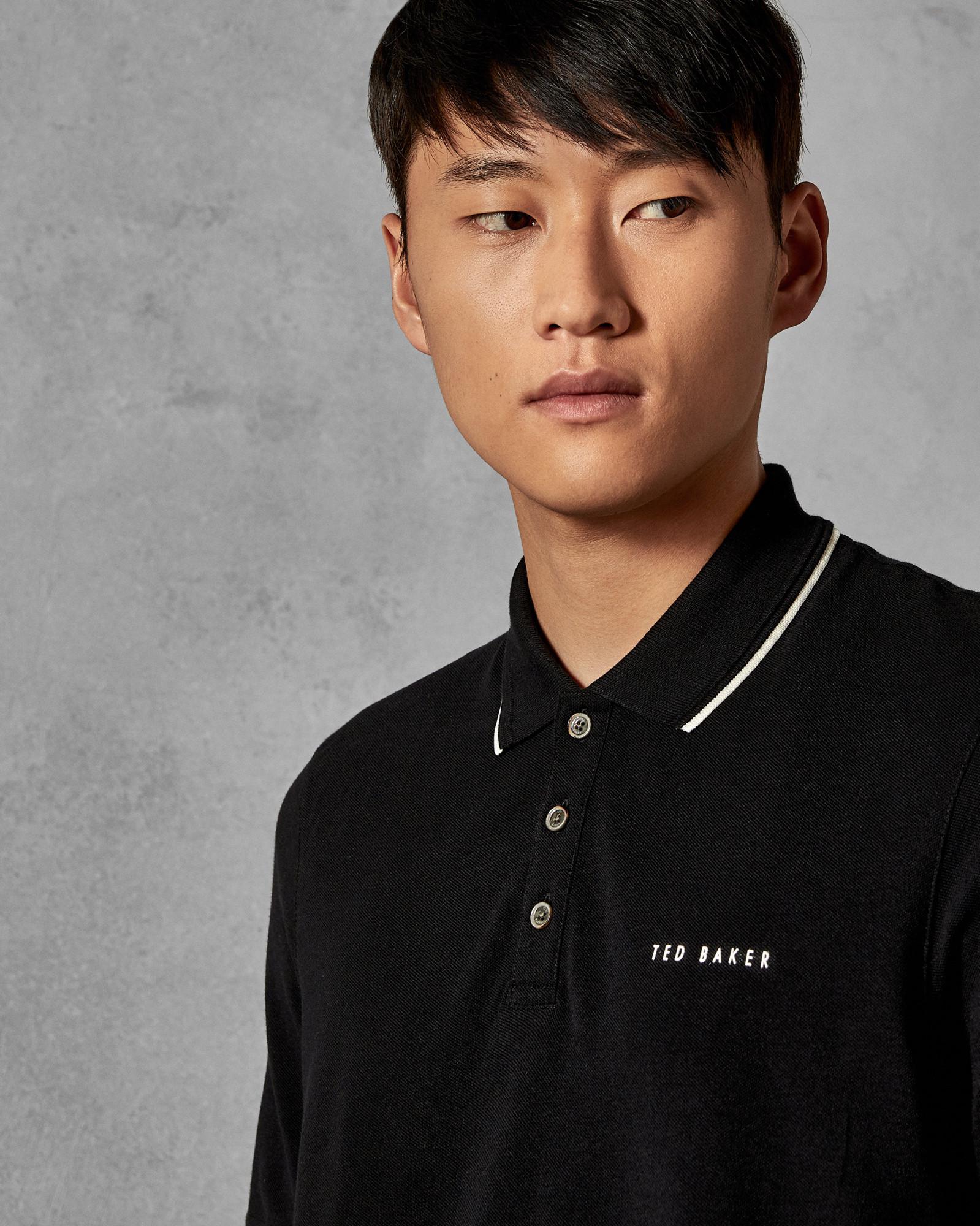137dc65ea63d45 Ted Baker - Black Pique Polo Shirt for Men - Lyst. View fullscreen