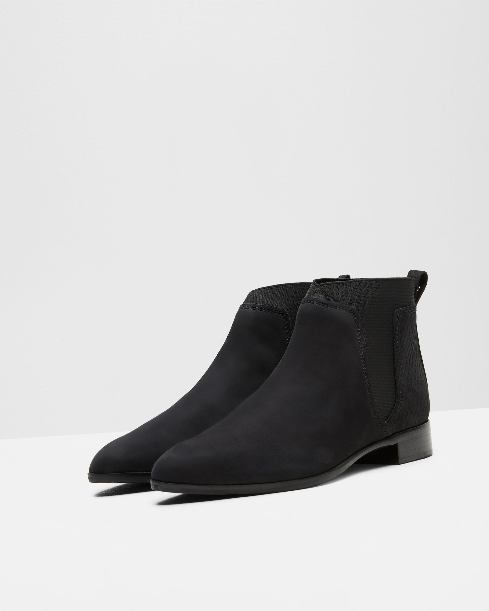 Ted Baker Suede Pointed Ankle Boots in Black