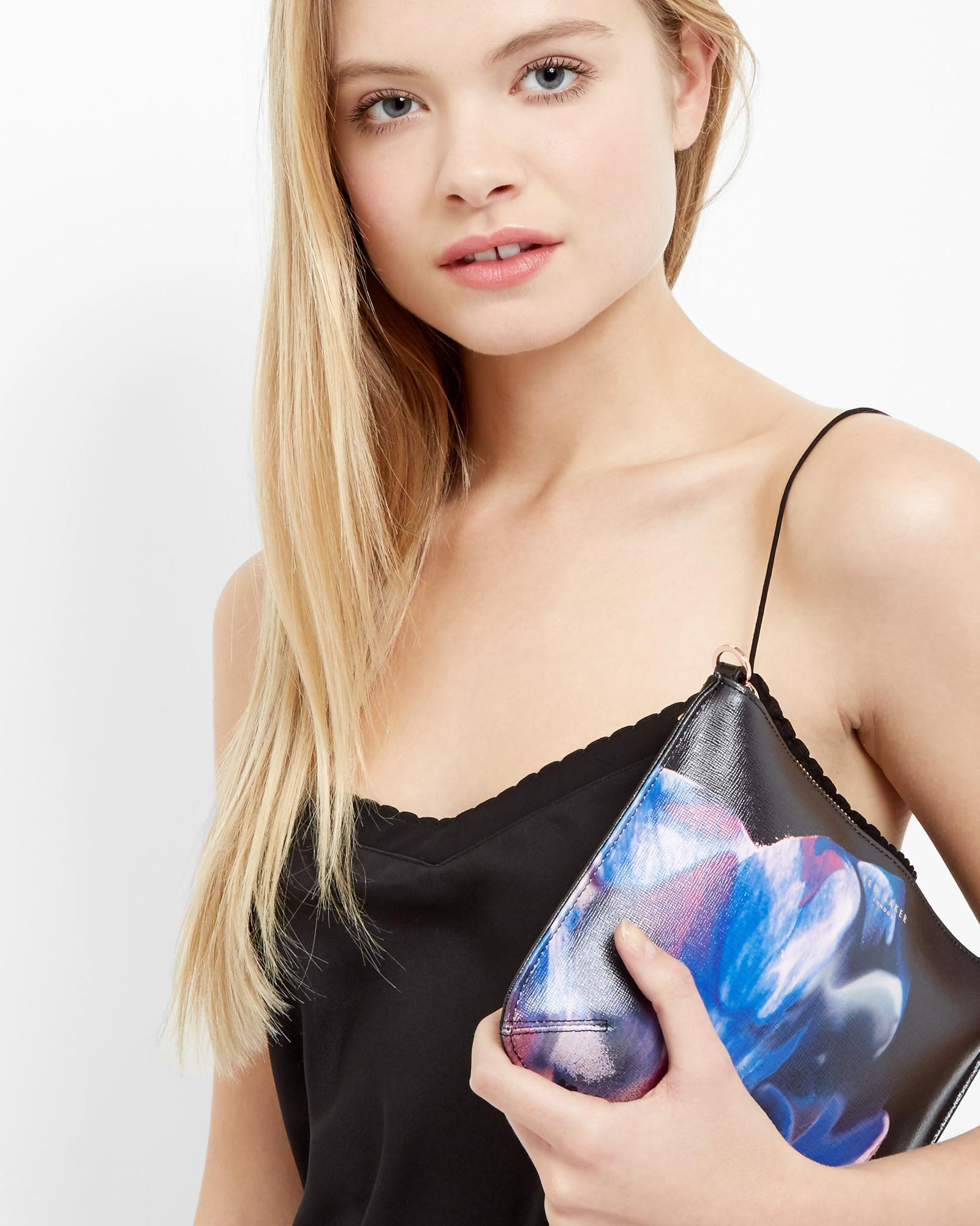 Ted Baker Cosmic Bloom Cross Body Leather Clutch Bag in Black