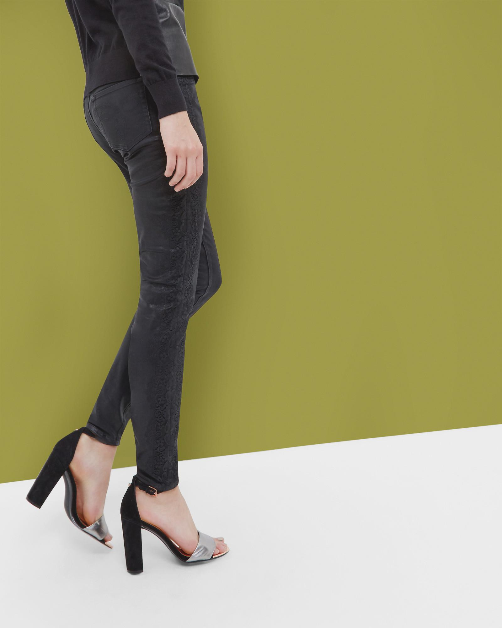 Ted Baker Lace Detail Skinny Jeans in Black