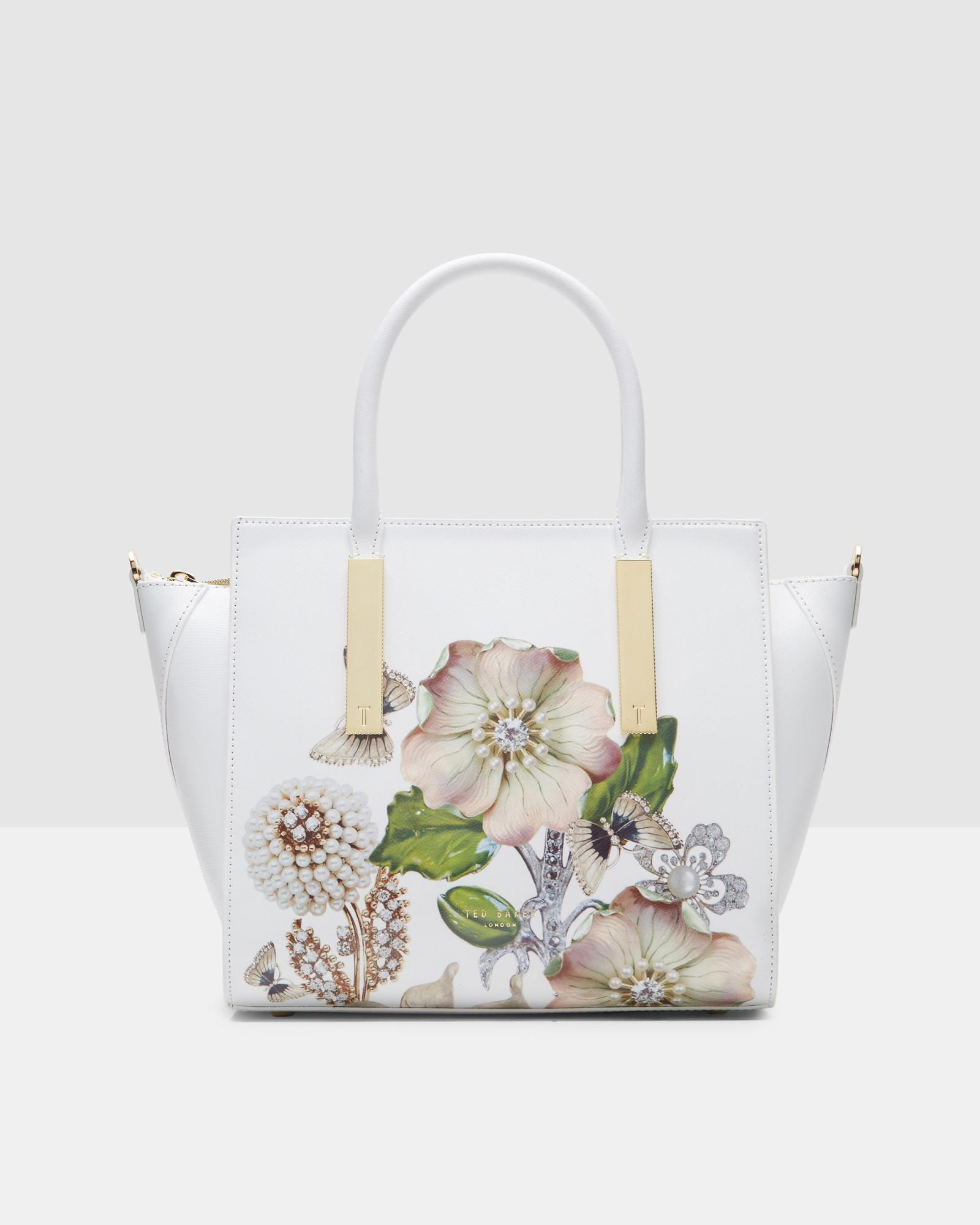 3276c4ff1 Ted Baker Gem Gardens Leather Tote Bag in White - Lyst