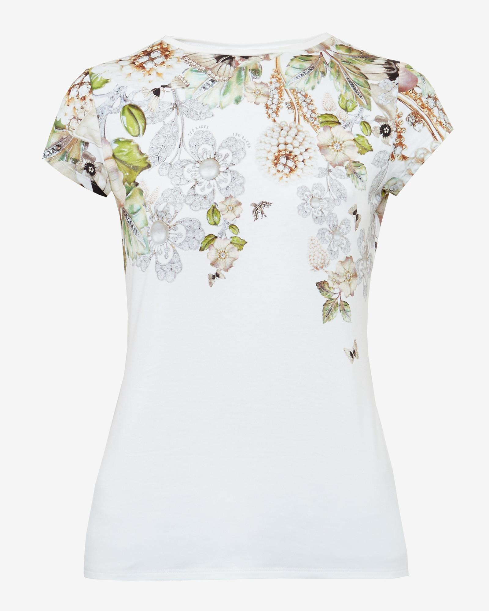 42271c0d8b4c Ted Baker Gem Gardens Fitted T-shirt in White - Lyst