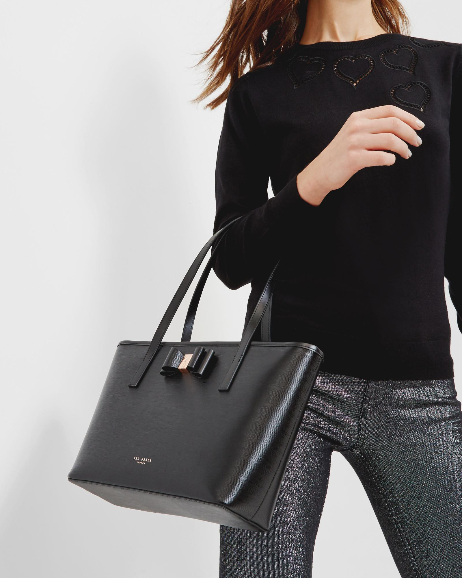 ce5914fd337 Ted Baker Black Bow Small Textured Leather Shopper Bag