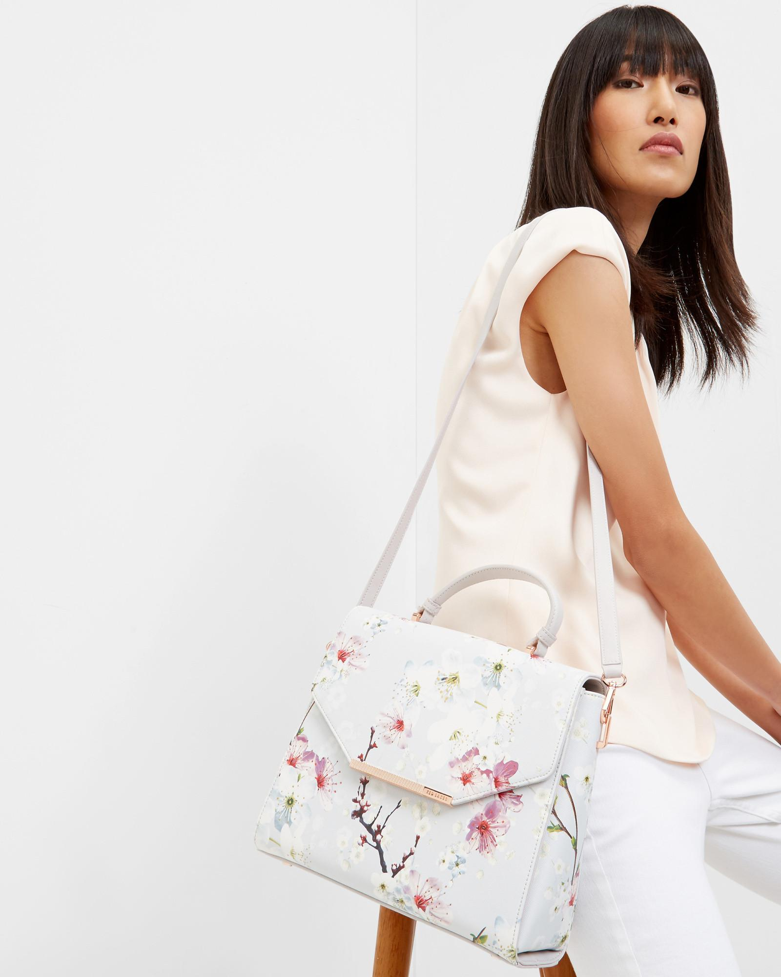 Ted Baker Cotton Oriental Blossom Tote Bag in Light Grey (Grey)