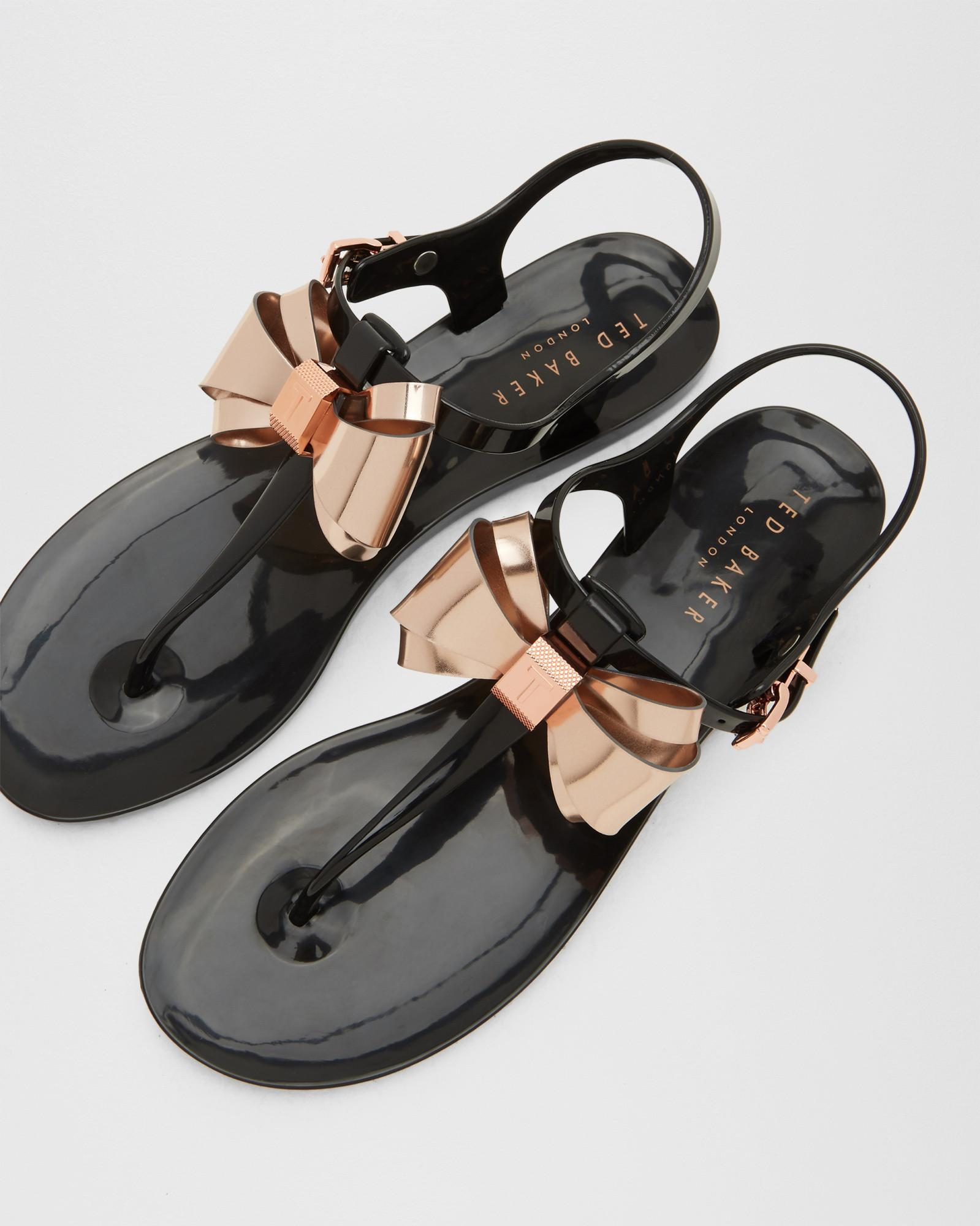 Lyst Ted Baker Metallic Bow Jelly Sandals In Black