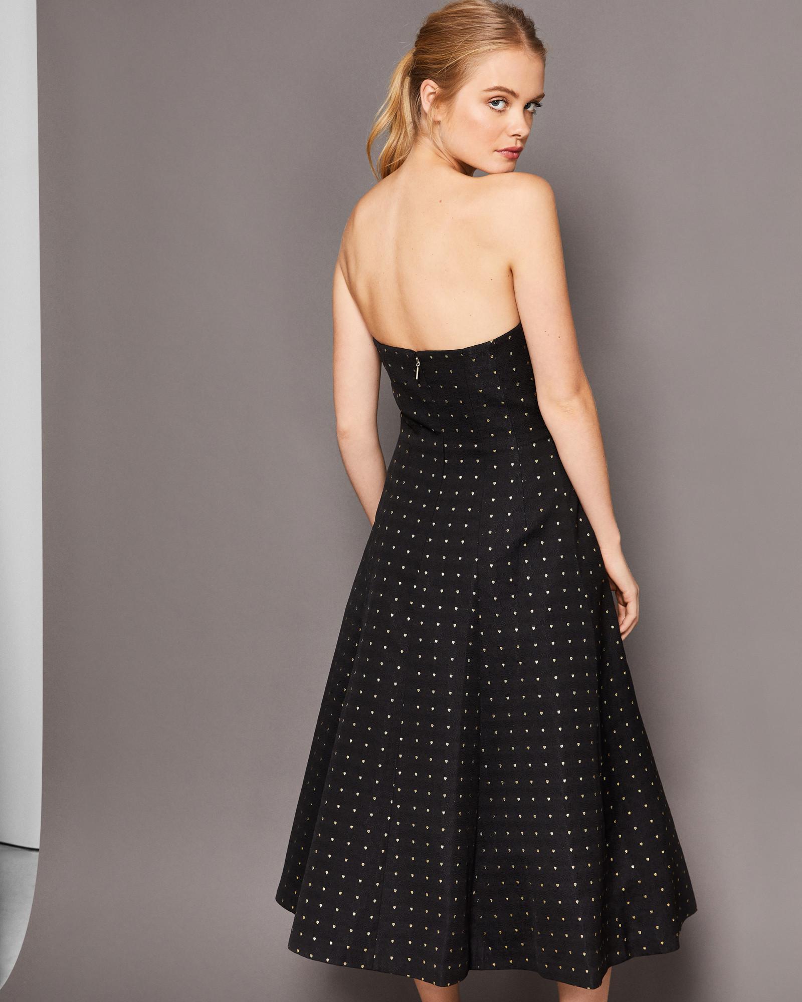 bada4563329c Ted Baker Heart Print Strapless Midi Dress in Black - Lyst