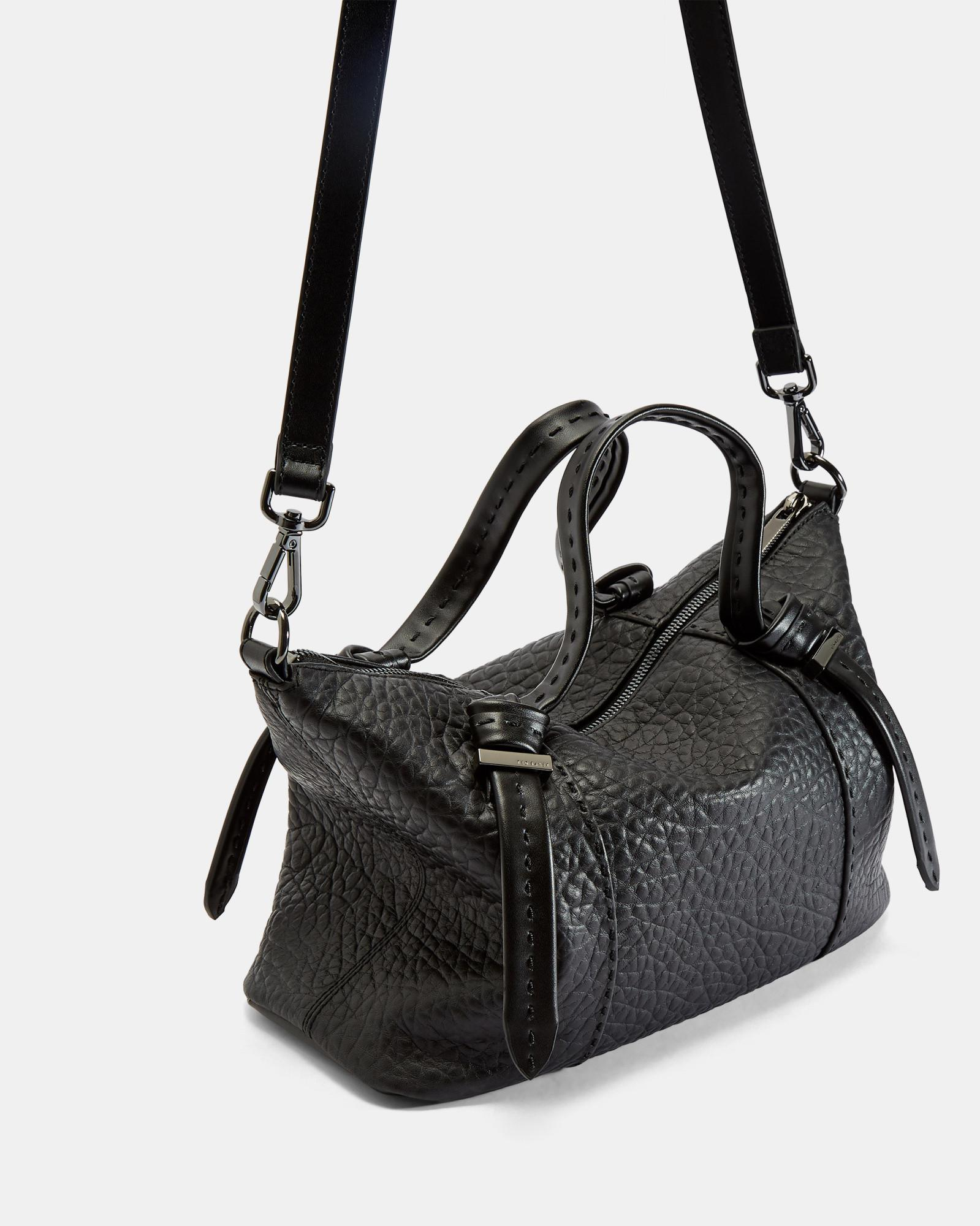 10a82cd188fd2c Lyst - Ted Baker Knotted Handle Small Leather Tote Bag in Black