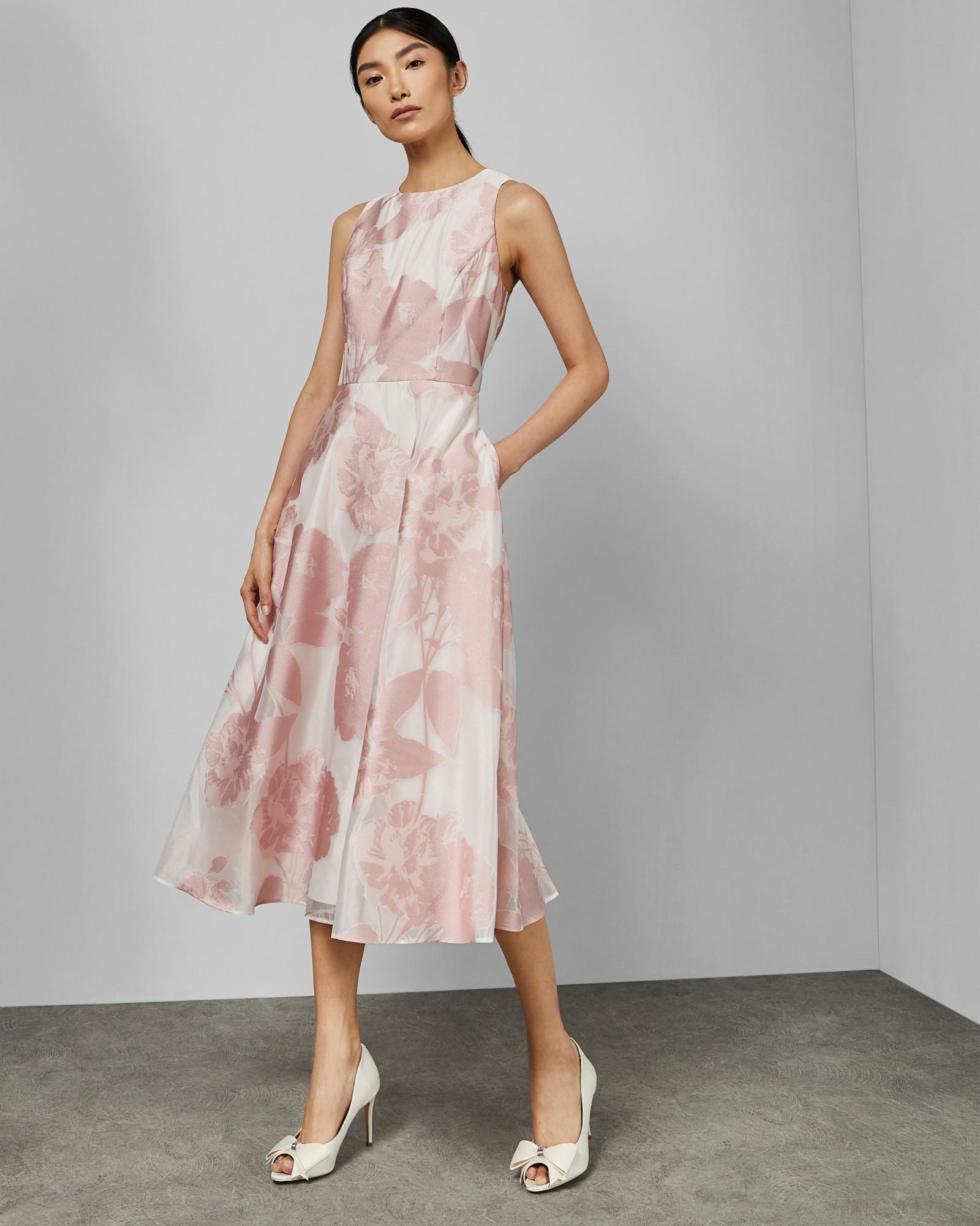 845f3af2d Ted Baker Wylieh Jacquard Midi Dress in Pink - Lyst